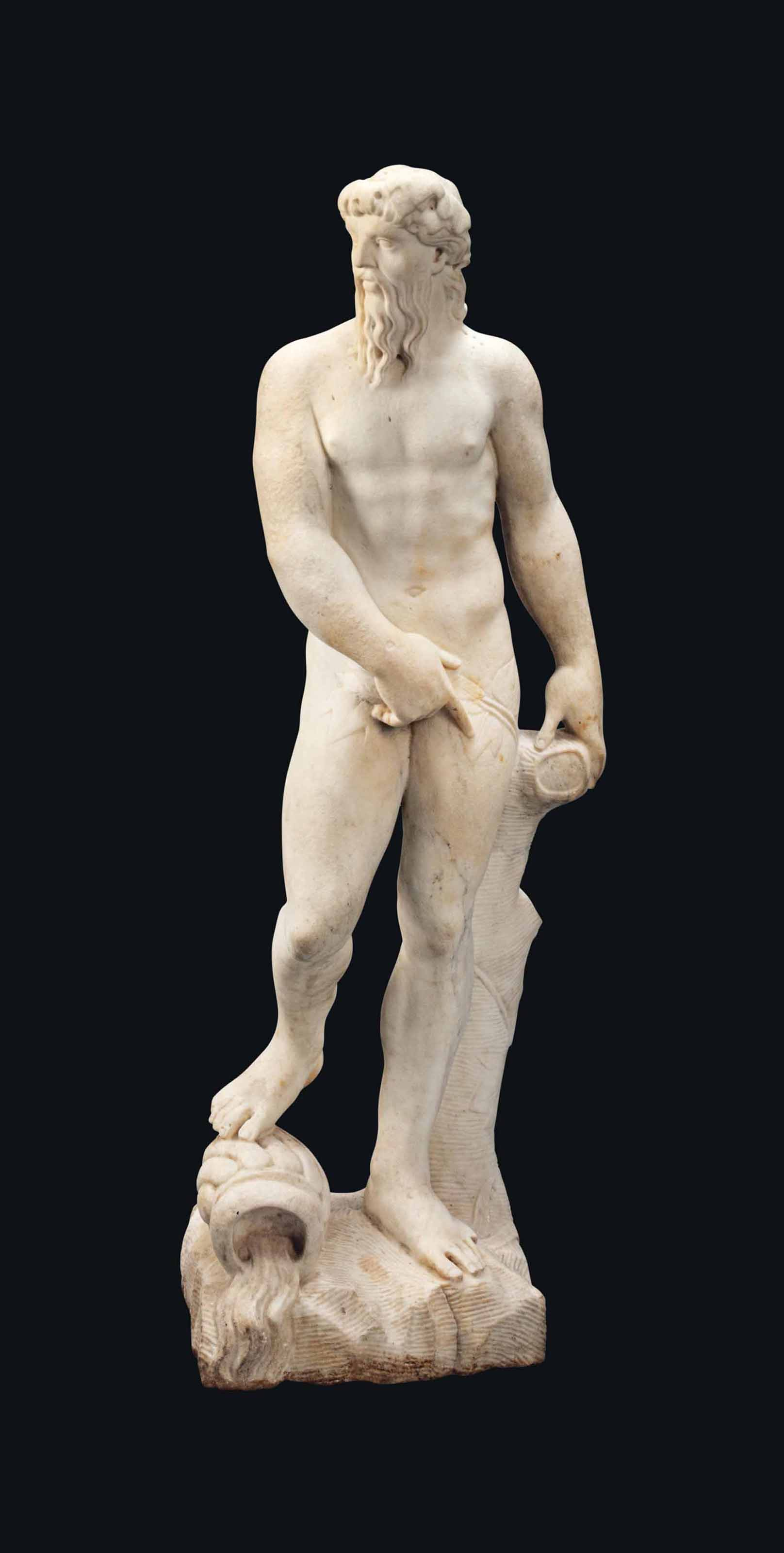 A FLEMISH MARBLE FIGURE OF A R