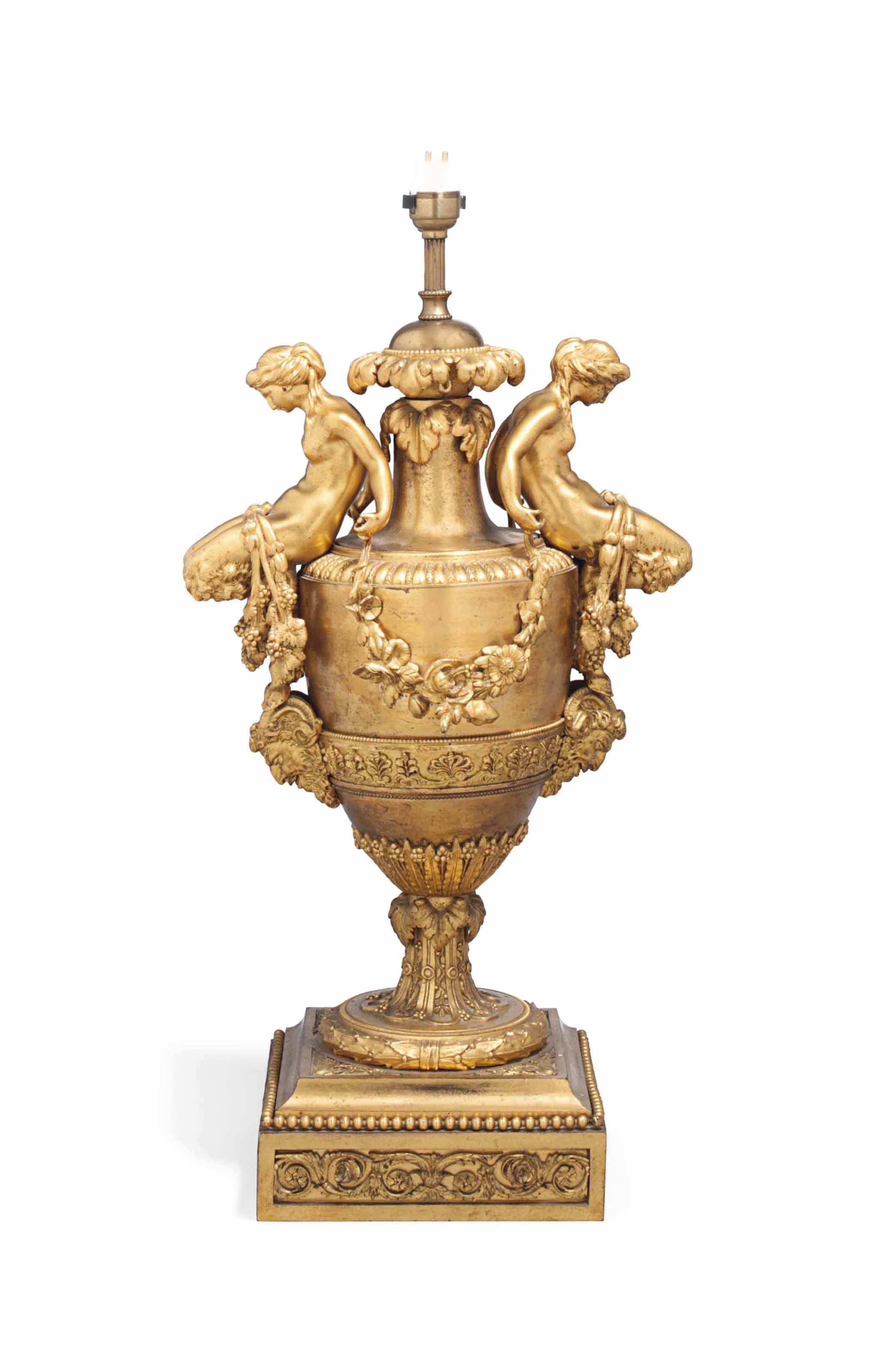 A FRENCH GILT-BRONZE TABLE LAMP