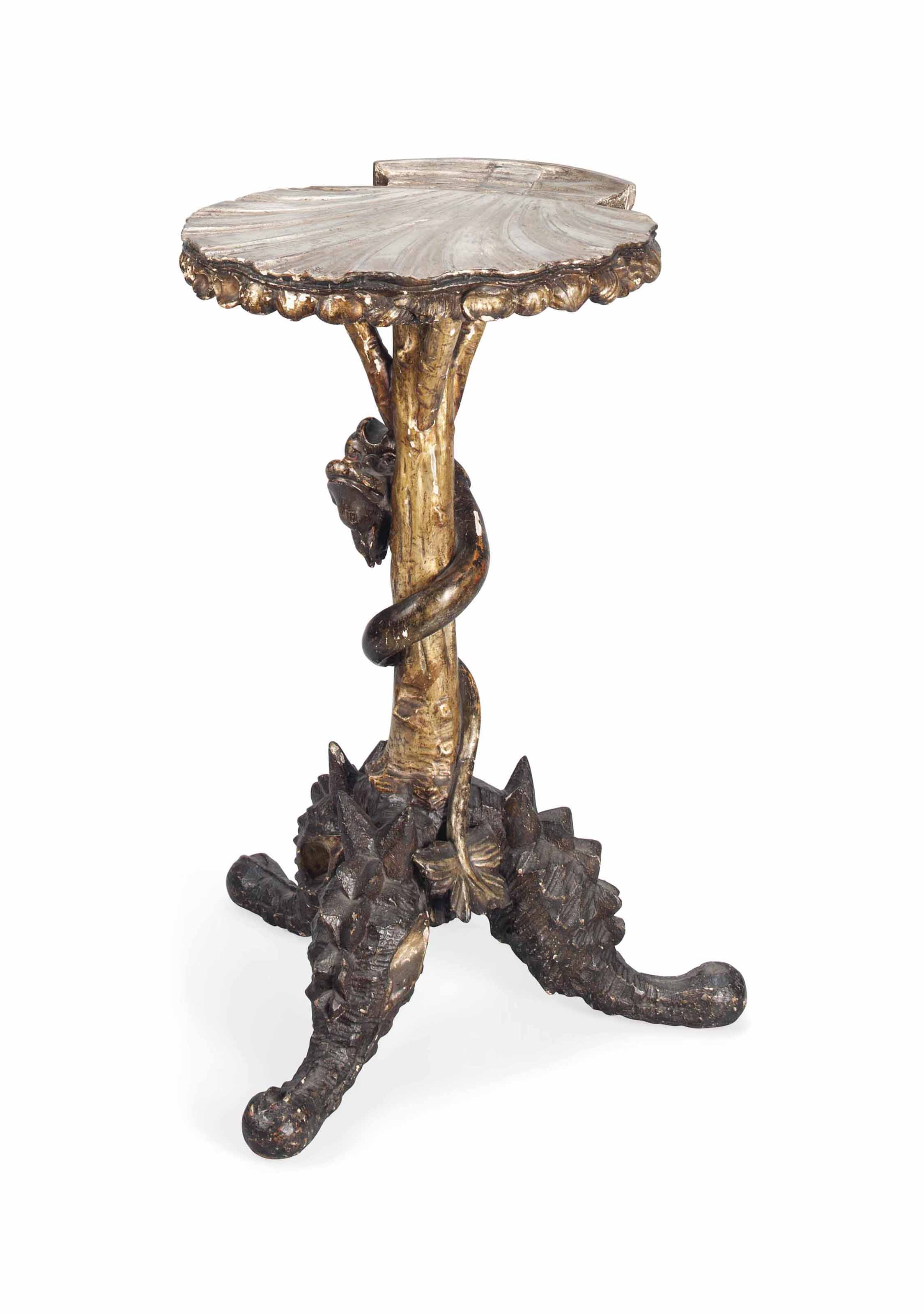 A VENETIAN SILVERED WOOD GROTT