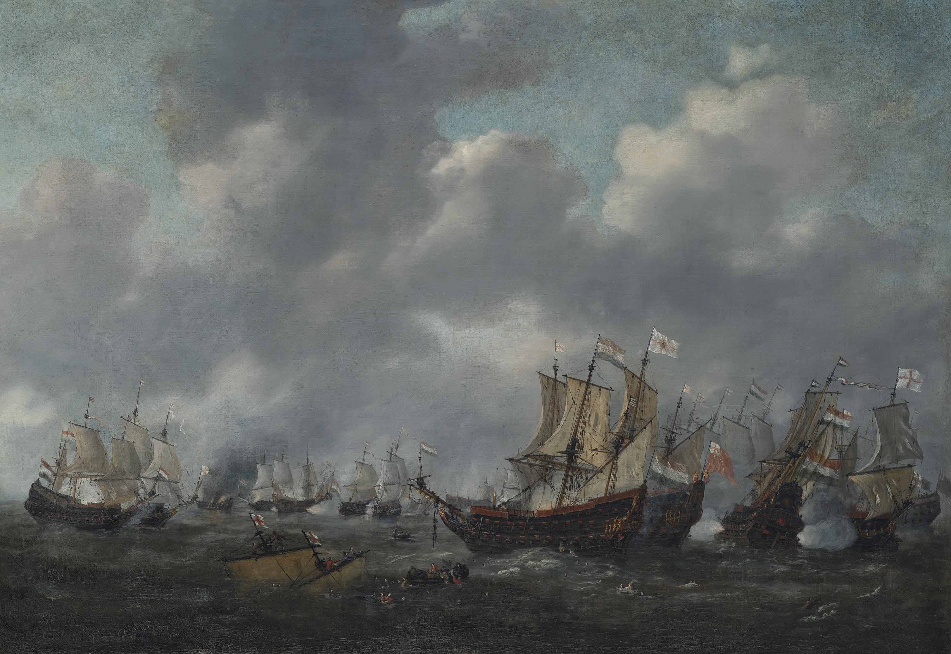 The battle of Leghorn, 4th March 1653, during the First Anglo-Dutch War (1652-54)