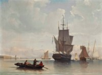 A Dutch merchantman and other shipping drifting in light airs