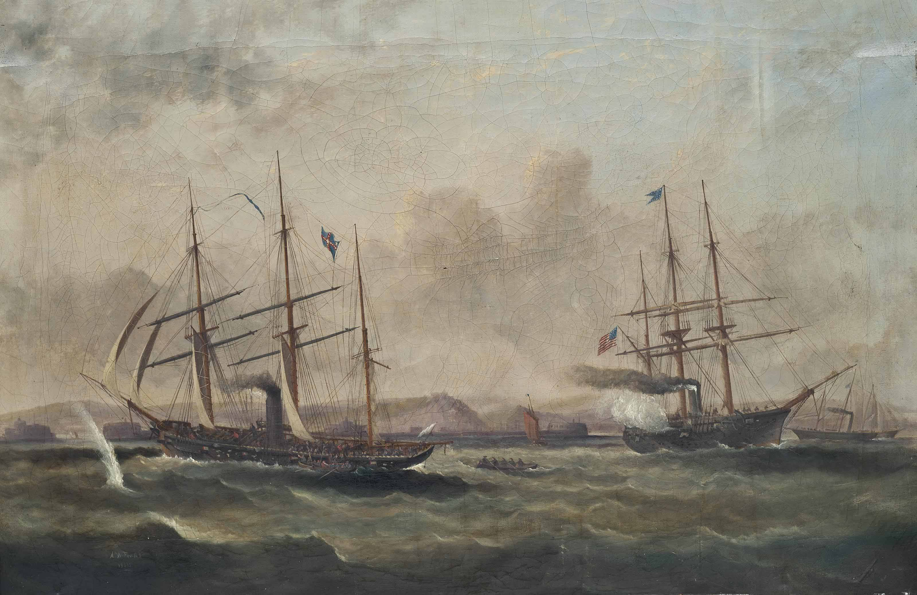 The celebrated engagement between the confederate raider C.S.S. Alabama and U.S.S. Kearsage, 19th June 1864