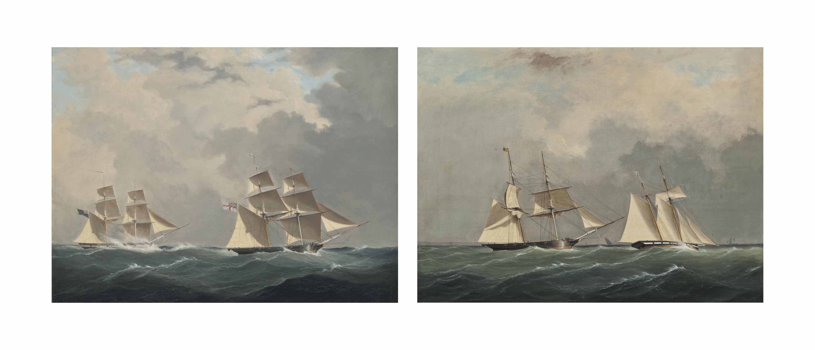 The Royal Navy brig H.M.S. Pantaloon and Waterwitch of the Royal Yacht Squadron in close quarters at sea; and The Royal Yacht Squadron's Waterwitch and The Royal Navy brig H.M.S. Pantaloon in coastal waters in a stiff breeze (both illustrated)