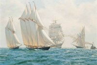 The Kaiser's Cup: The American three-masted schooner Atlantic at the start of the Transatlantic race, 17th May, 1905
