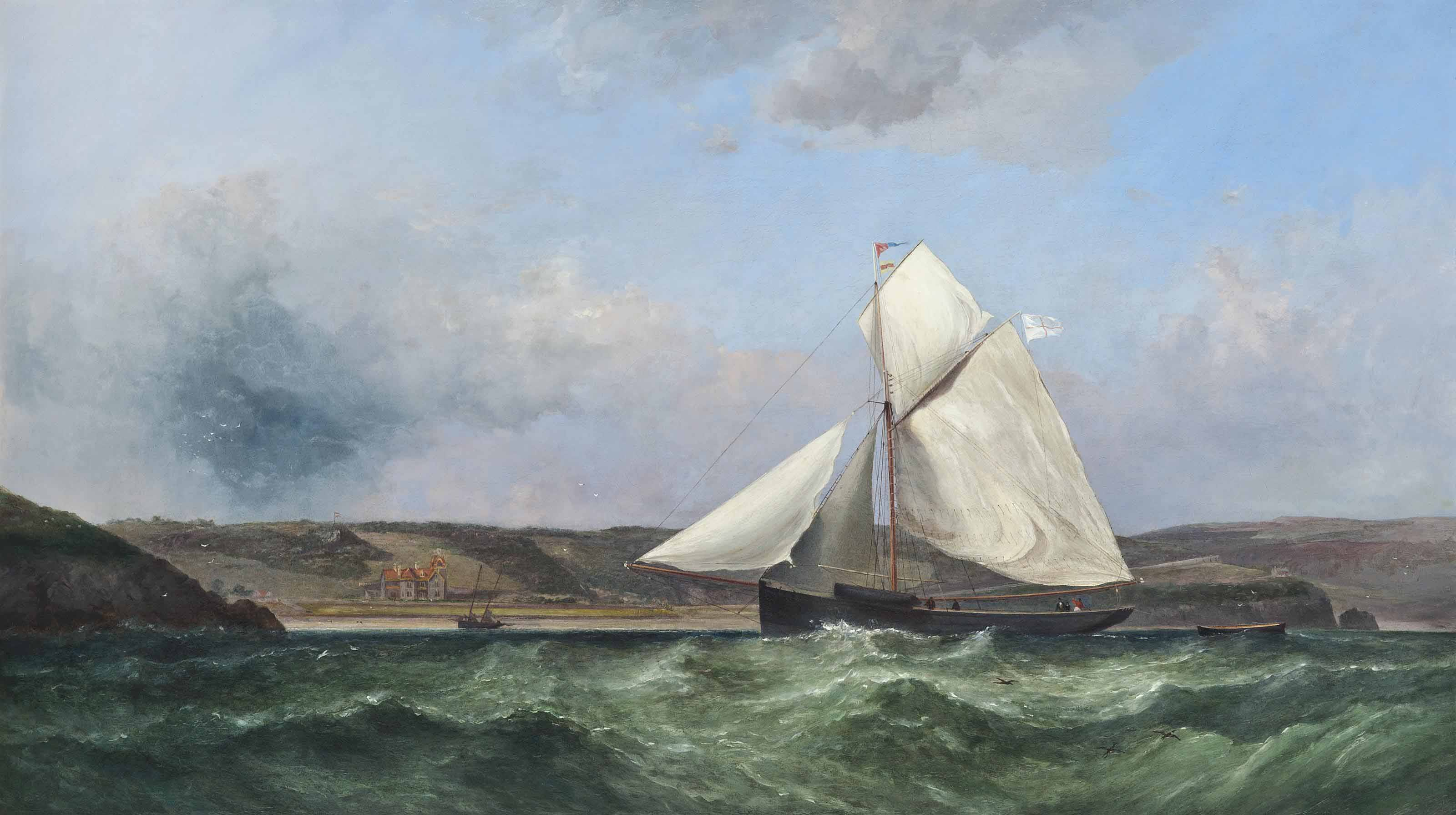A racing cutter sailing inshore off the Worm's Head, Wales; and A gaff-rigged boat off the Mumbles, Swansea, Wales, with Llan-y-Mar House on the shore (illustrated)