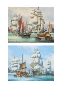 Loading tea, Whampoa; and Ariel, other tea clippers and Chinese junks in the harbour at Foochow (both illustrated)