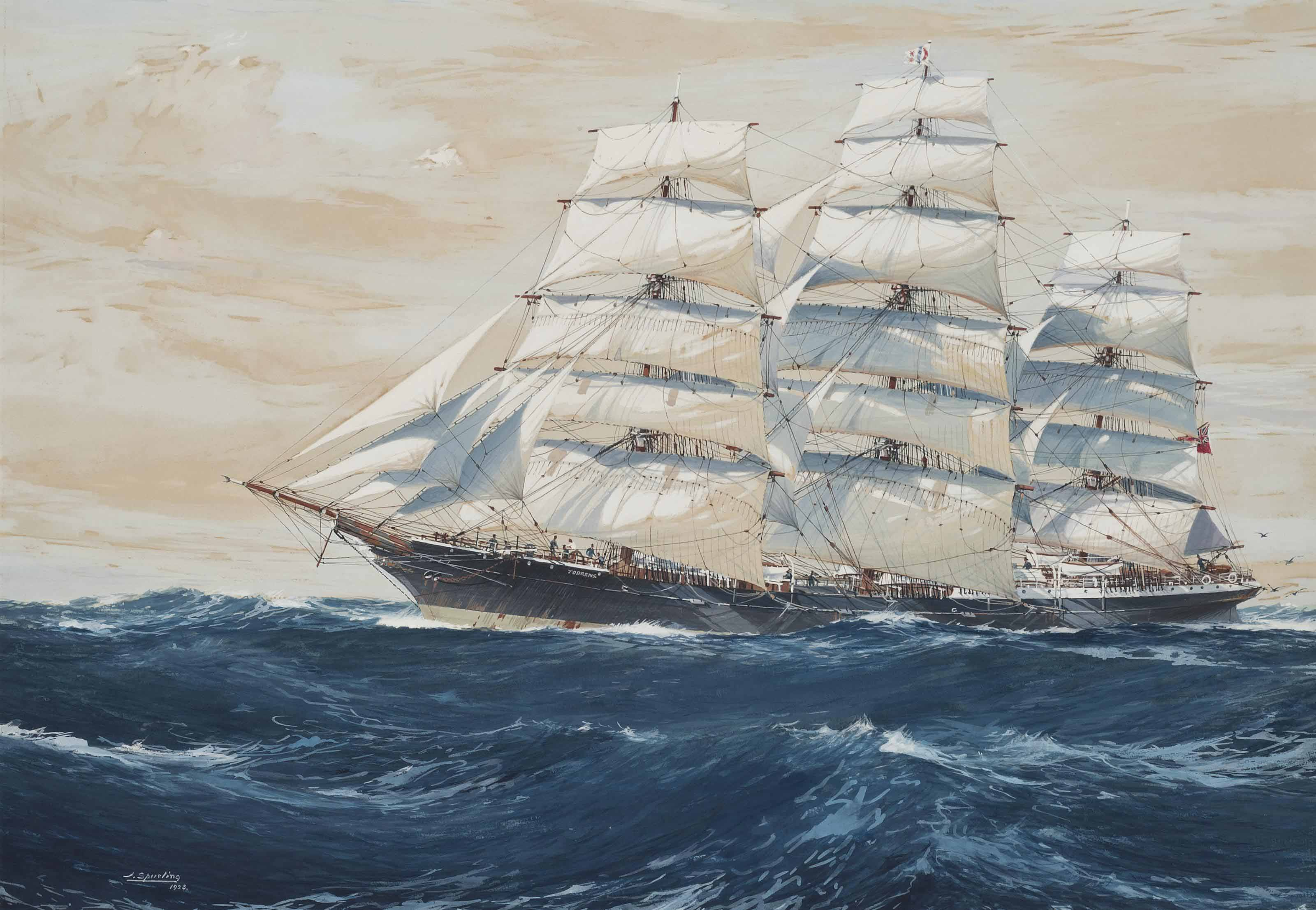 The Australian clipper ship Torrens under full sail