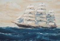 The Australian clipper ship Torrens under full sail