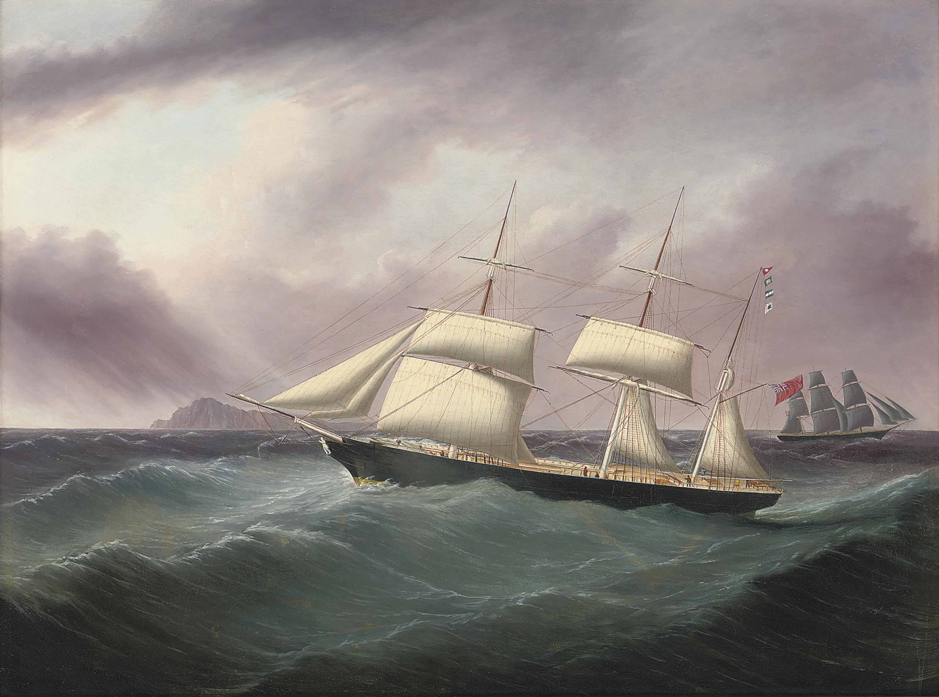 The barque Humphrey Nelson flying her recognition flags as she passes a three-masted merchantman off a mid-ocean island