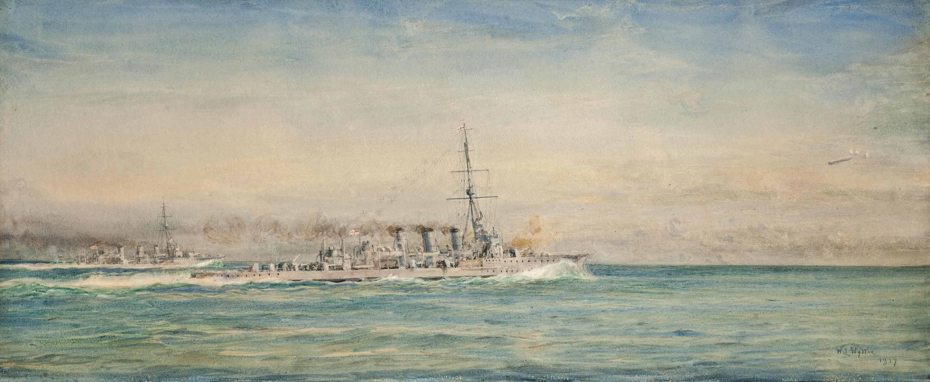 H.M.S. Galatea and her sistership, H.M.S. Phaeton, sighting and bringing down a Zeppelin off the Schleswig coast, 4th May 1916 (illustrated); and H.M.S. Galatea starting out for dark night patrol