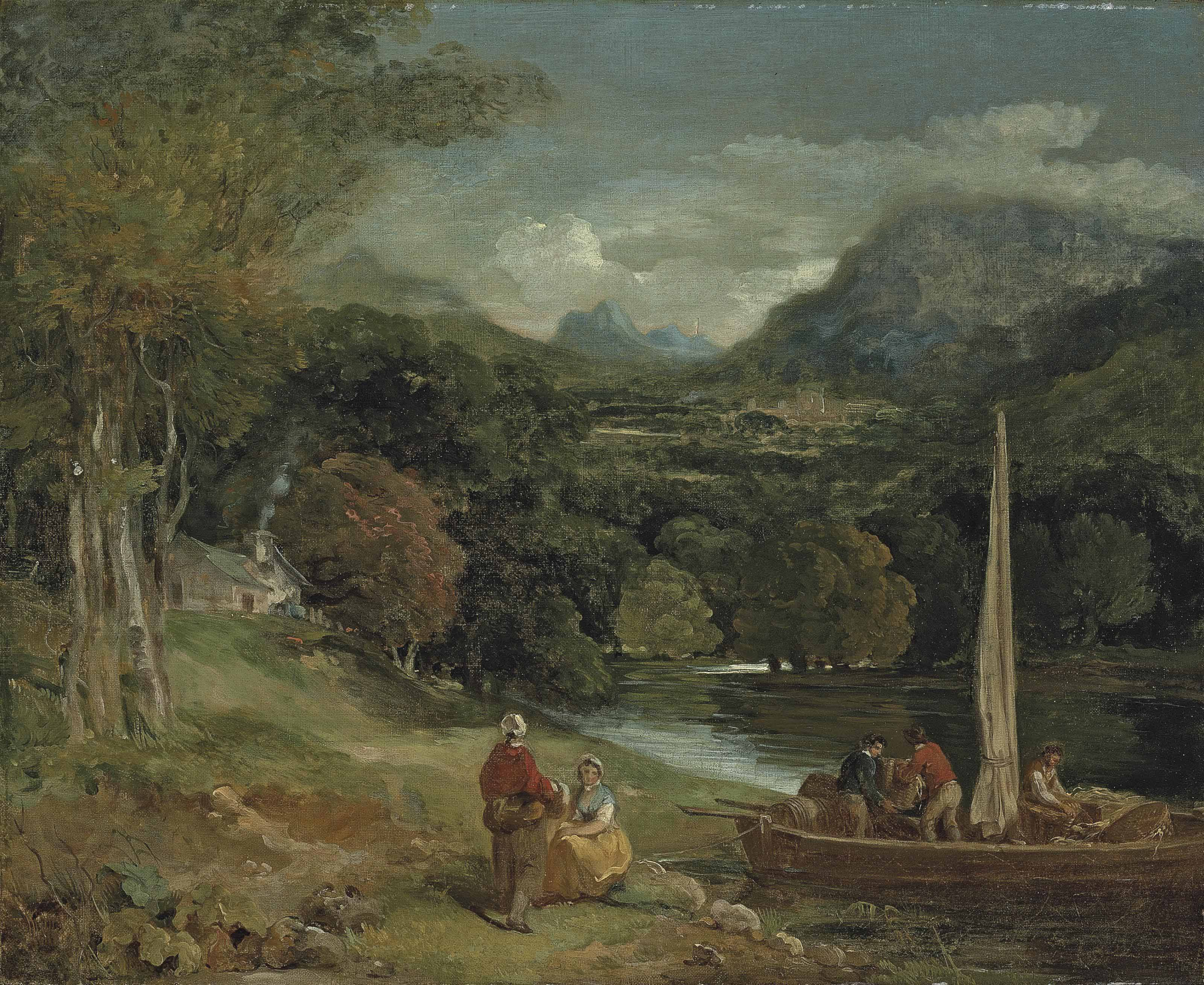 A wooded river landscape with figures unloading barrels from a small ferry boat, a cottage and mountains beyond