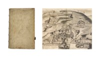 KIRCHER, A. (1602-1680). Latium. Id est, nova & parallela Latii tum veteris tum novi description. Amsterdam: J. Janssonium and the heirs of E. Weyerstraet, 1671. [Bound with:] China monumentis. Amsterdam: J. Jansson and E. Weyerstraet, 1667. 2 works in one volume, 2° (365 x 235mm). First work with engraved additional title by Romeyn de Hooghe, portrait of the dedicatee Pope Clement X, 27 engraved plates, plans and maps of which 16 double-page or folding, 20 illustrations. (Title with a small marginal wormhole, some browning and spotting); second work with engraved title, engraved vignette on title, engraved portrait, 22 (of 24) engraved plates of which 3 folding, 60 engraved illustrations of which one tipped-in and numerous woodcuts. (Lacking engraved portrait and two engraved plates, 2E3 cut at lower margin without any loss, occasional browning and spotting.) Contemporary blind-stamped pigskin over wooden boards, spine in six compartments with gilt labels, part of original clasp remaining (some light staining). Provenance: unidentified library shelf mark on spine -- Bibliotheca Kircheriana (book label).  FIRST EDITIONS. The Latium resulted from Kircher's curiosity about Rome and the surrounding region. 'From 1635 until his death Kircher resided in Rome, researching, teaching, writing, and exploring the Italian countryside... it is a compilation of his topographical impressions of Rome and its environs, a guide to the regions around Rome and northwards into Etruria, to its landmarks, villas, and towns, both ancient and modern' (Merrill). The second work was printed both in Rome and Antwerp in 1667, it is divided into six parts and discusses the Nestorian inscriptions, the history of China and its introduction to Christianity; it also discusses the possibility that Chinese characters could have originated from Egyptian hieroglyphics. Merrill 20 and 23; Brunet III, 666 and 667; Caillet 5773 and 5777 (Latium: 'curieux ouvrage enrichi de nombr. fig.'; China: 'Cet ouvrag