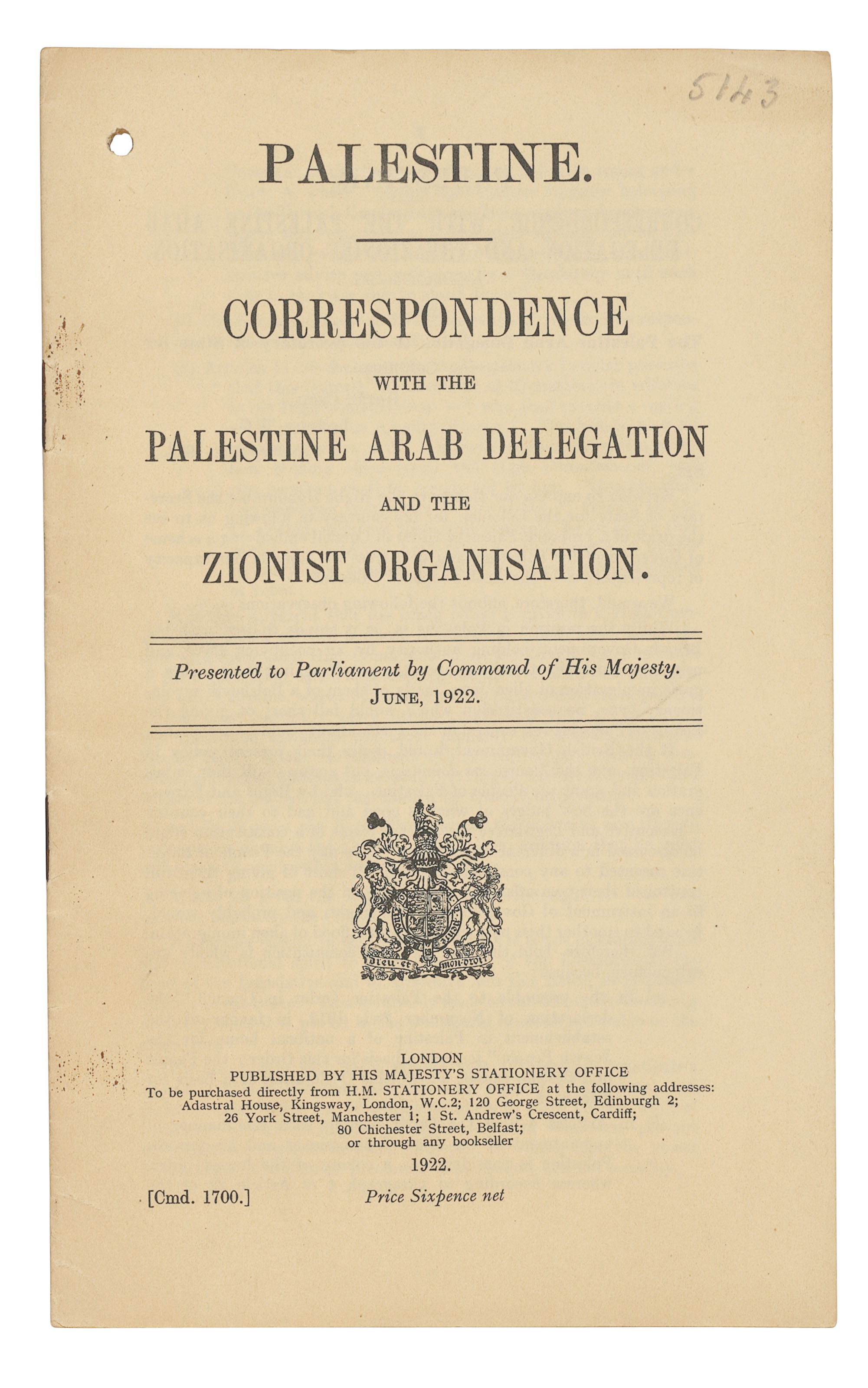 PALESTINE -- THE CHURCHILL WHITEPAPER -- Palestine. Correspondence with the Palestine Arab Delegation and the Zionist Organisation. [Cmd. 1700.] London: HMSO, 1922. 8° (246 x 152mm). 32 pp, verso of final leaf blank. (Single hole punch to margin, paper very lightly toned.) Self-wrappers, stapled as issued (staples rusting). Provenance: ?filing number in pencil to upper margin front wrapper.