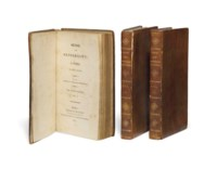 AUSTEN, Jane (1775-1817). Sense and Sensibility, London: printed for the Author and published by T. Egerton, 1813. 3 volumes, 12° (176 x 105mm). (Lacking half-titles and without final blanks, occasional light spotting.) Contemporary calf, gilt spines (joints splitting, corners very lightly bumped, small blank stain to vol. II).