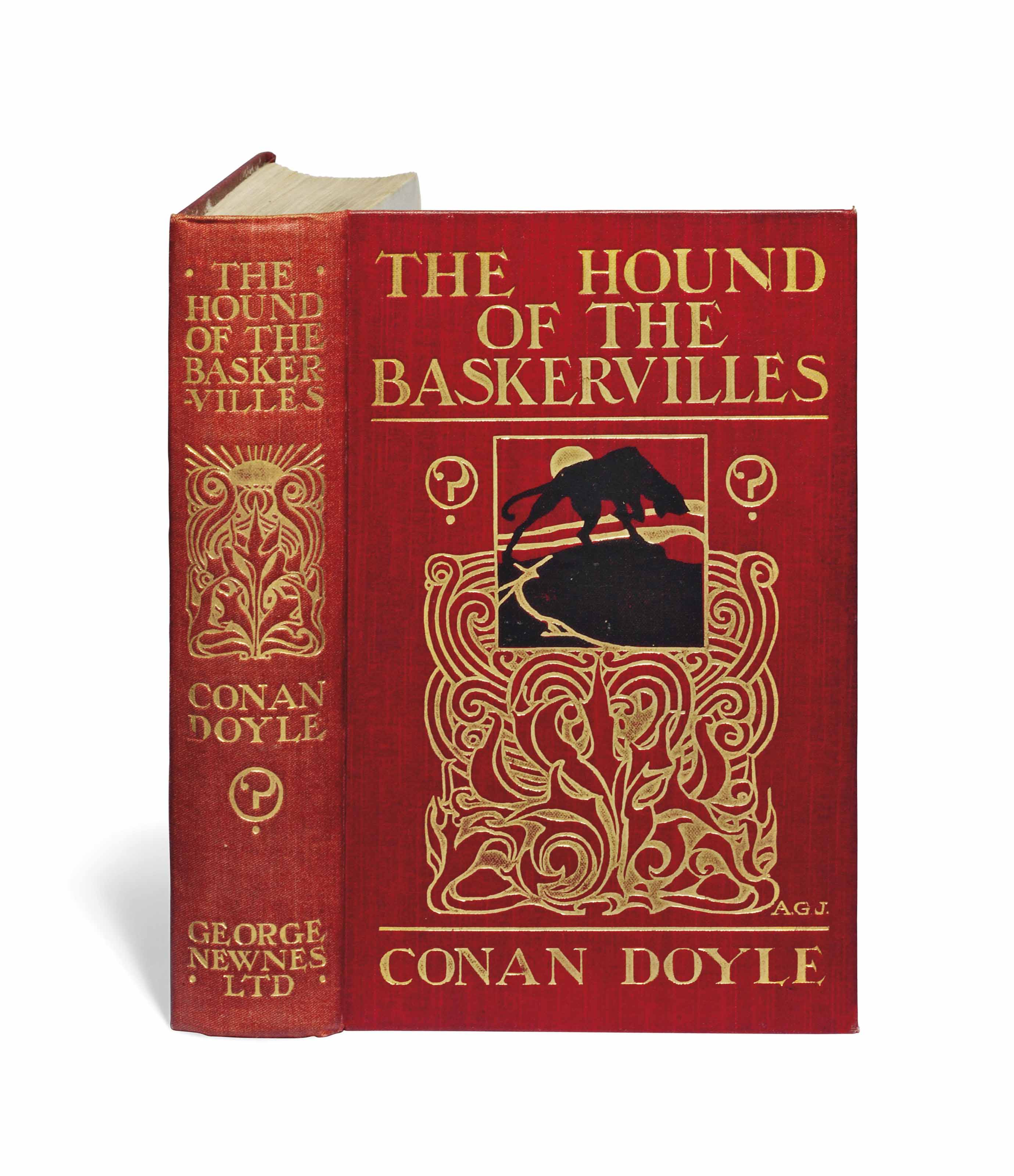 DOYLE, Arthur Conan (1859-1930). The Hound of the Baskervilles. London: George Newnes, 1902. 8° (186 x 120mm). Frontispiece and 15 plates by Sidney Paget. (Edges lightly spotted.) Original pictorial red cloth, spine and upper side stamped in gilt after a design by Alfred Garth Jones (spine lightly and evenly faded, corners lightly rubbed, endpapers spotted). Provenance: John Harries, Bookseller (small ticket).