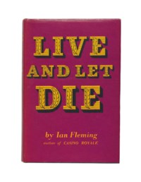 FLEMING, Ian (1908-1964). Live and Let Die. London: Jonathan Cape, 1954. 8° (190 x 125mm). Original black cloth, lettered and stamped in gilt, original purple dust-jacket (some light staining to covers and spine, back of dust-jacket lightly soiled and head of spine with small creases). Provenance: Pat Perrey (ownership inscription).
