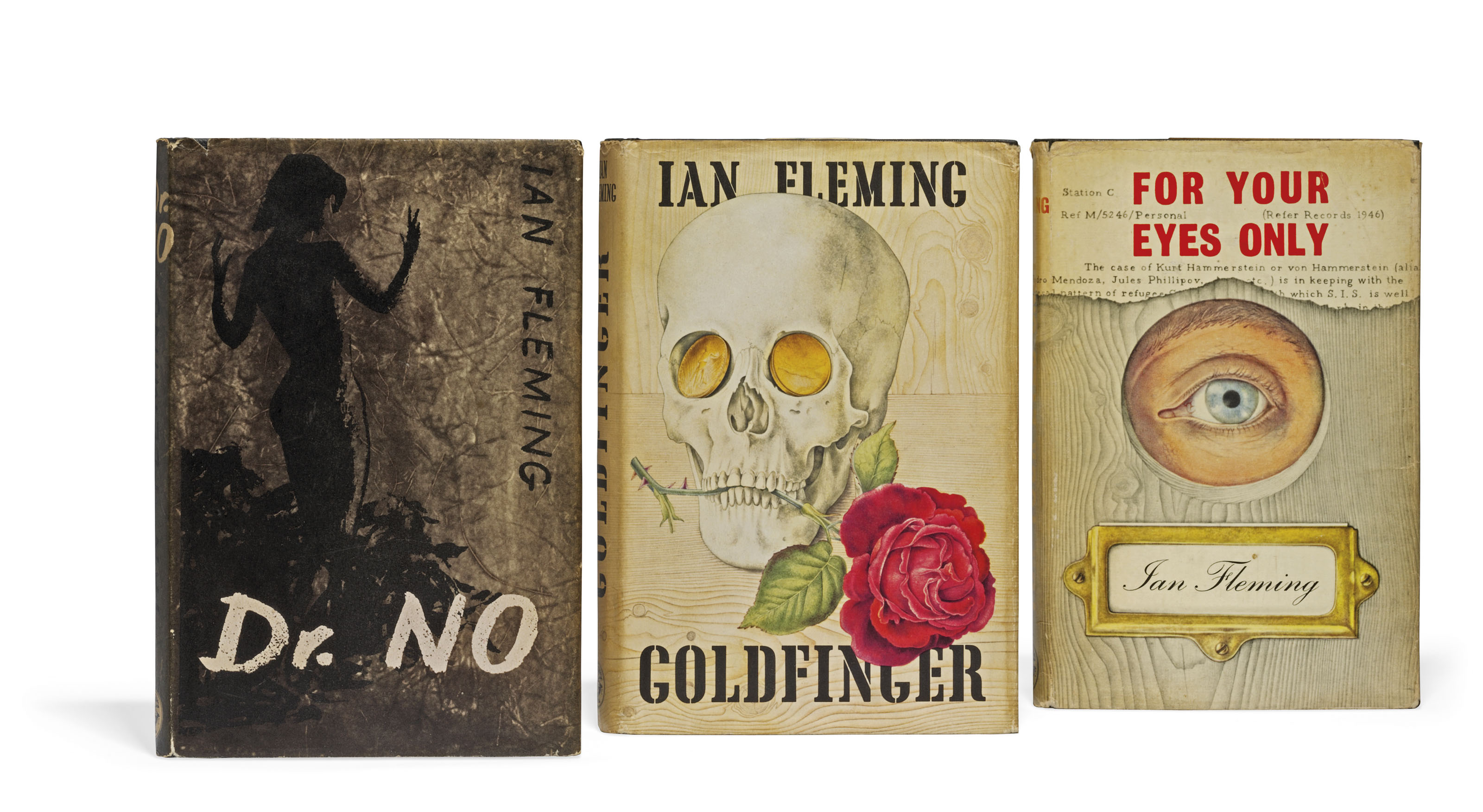 FLEMING, Ian (1908-1964). Dr No. London: Jonathan Cape, 1958. 8° (188 x 122mm). Original black boards with woman depicted on front cover and spine stamped in silver, pictorial dust jacket by Pat Marriott (dust-jacket with extremities lightly rubbed and a few tiny chips, light soiling to back cover).