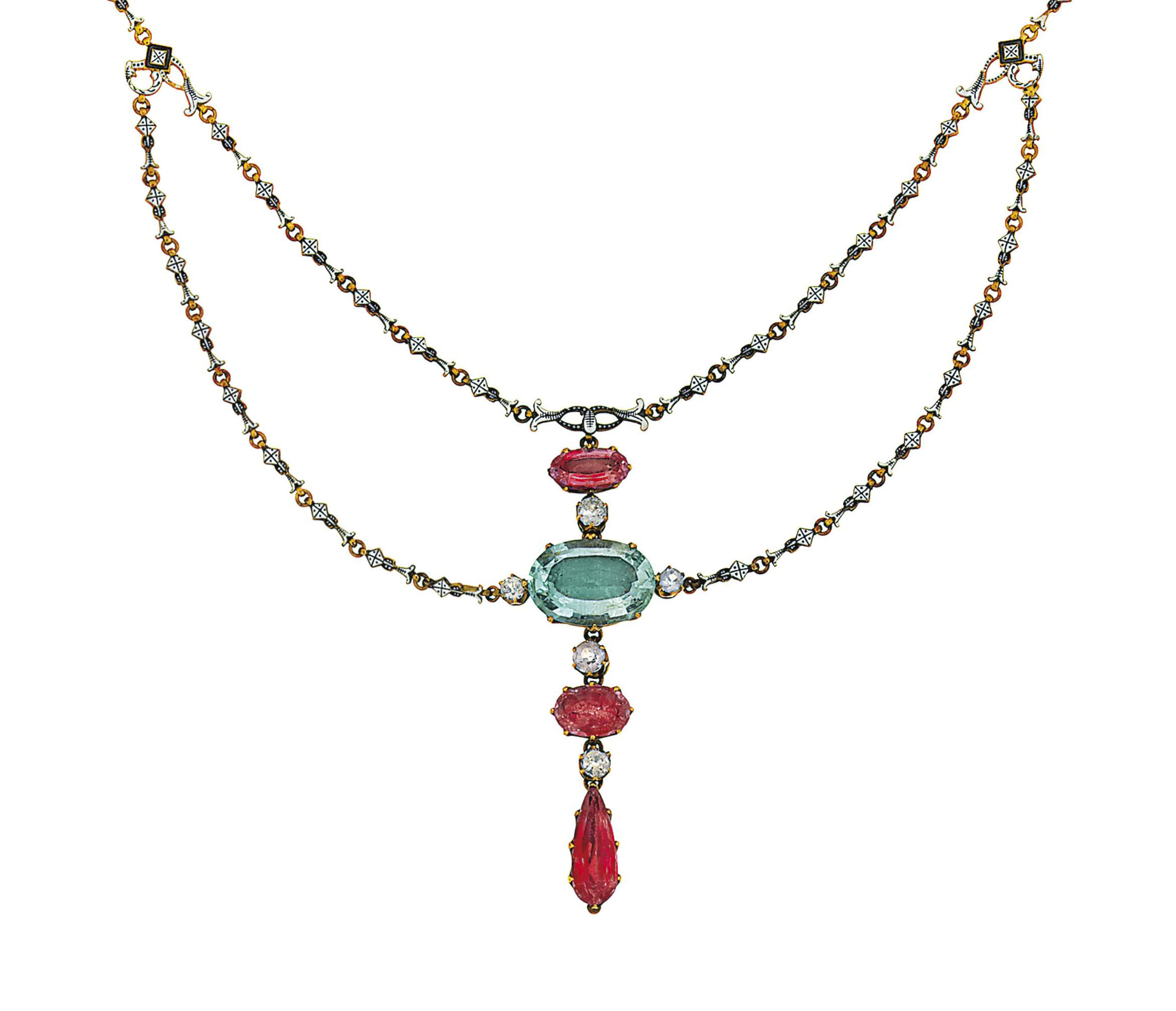 An aquamarine and enamel necklace, by Giuliano