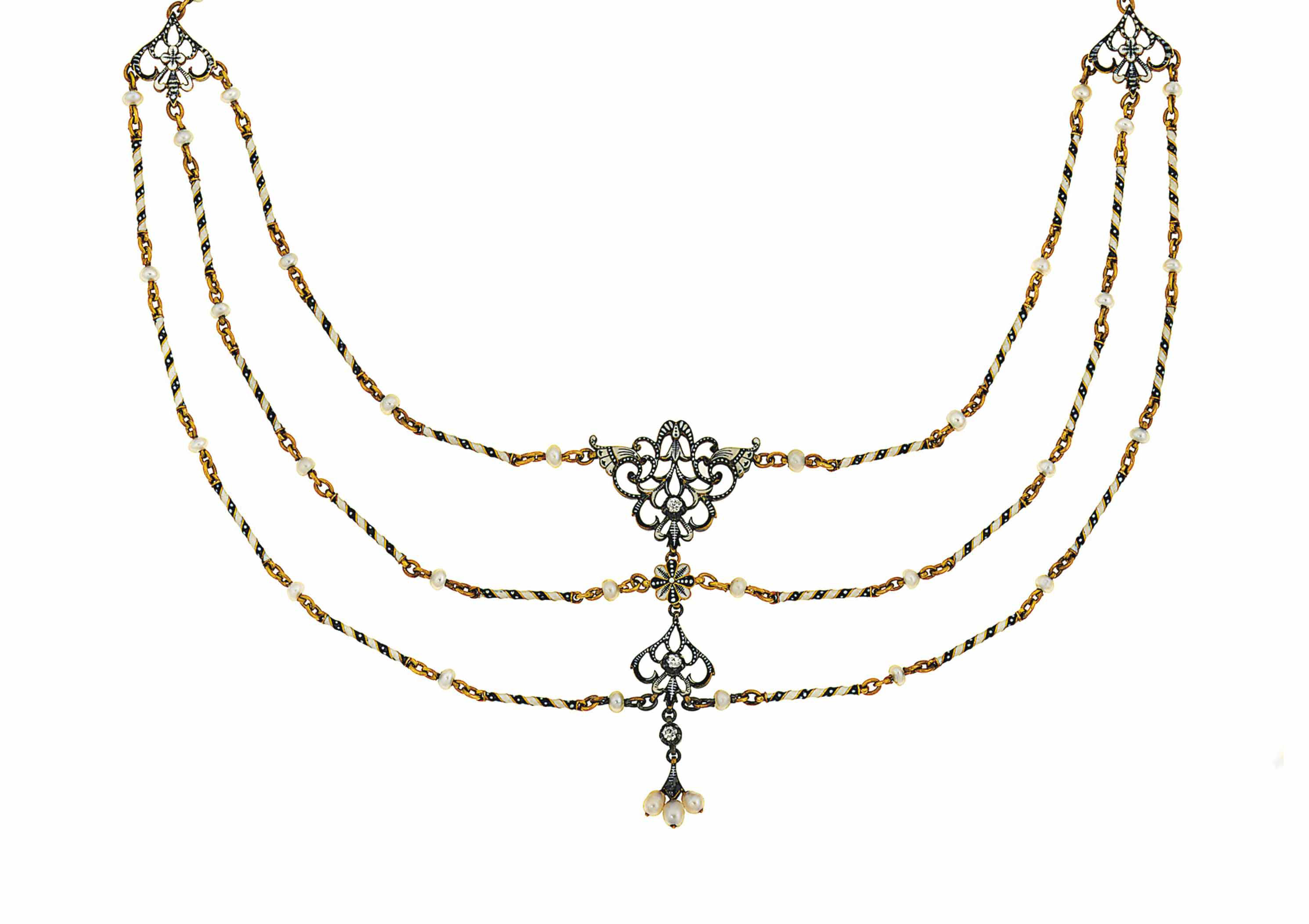 An enamel, diamond and pearl necklace, by Giuliano