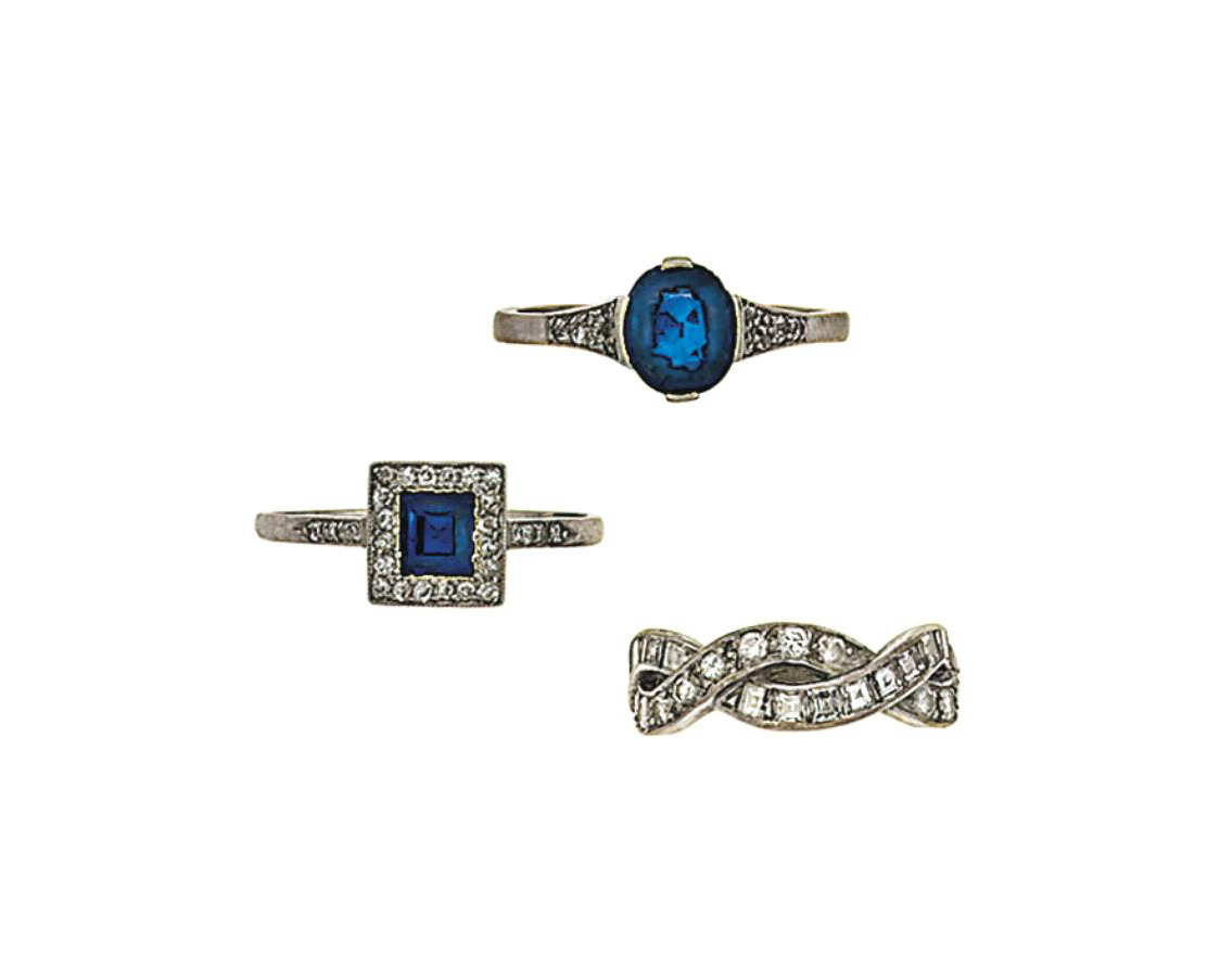 A group of seven diamond and gem rings
