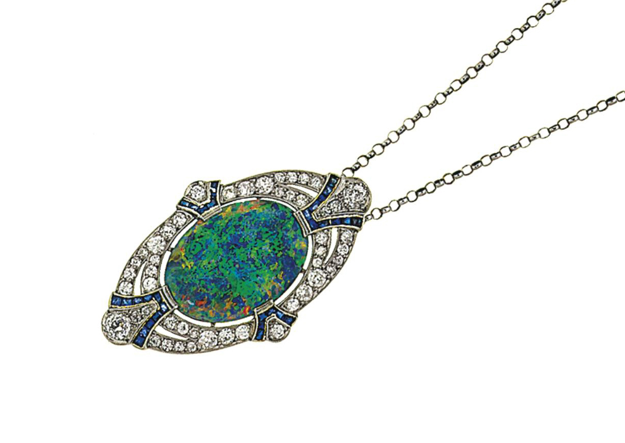 An early 20th century opal, diamond and sapphire brooch, by Dreicer