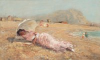 The girl in the pink dress, the artist's wife, on Hastings Beach