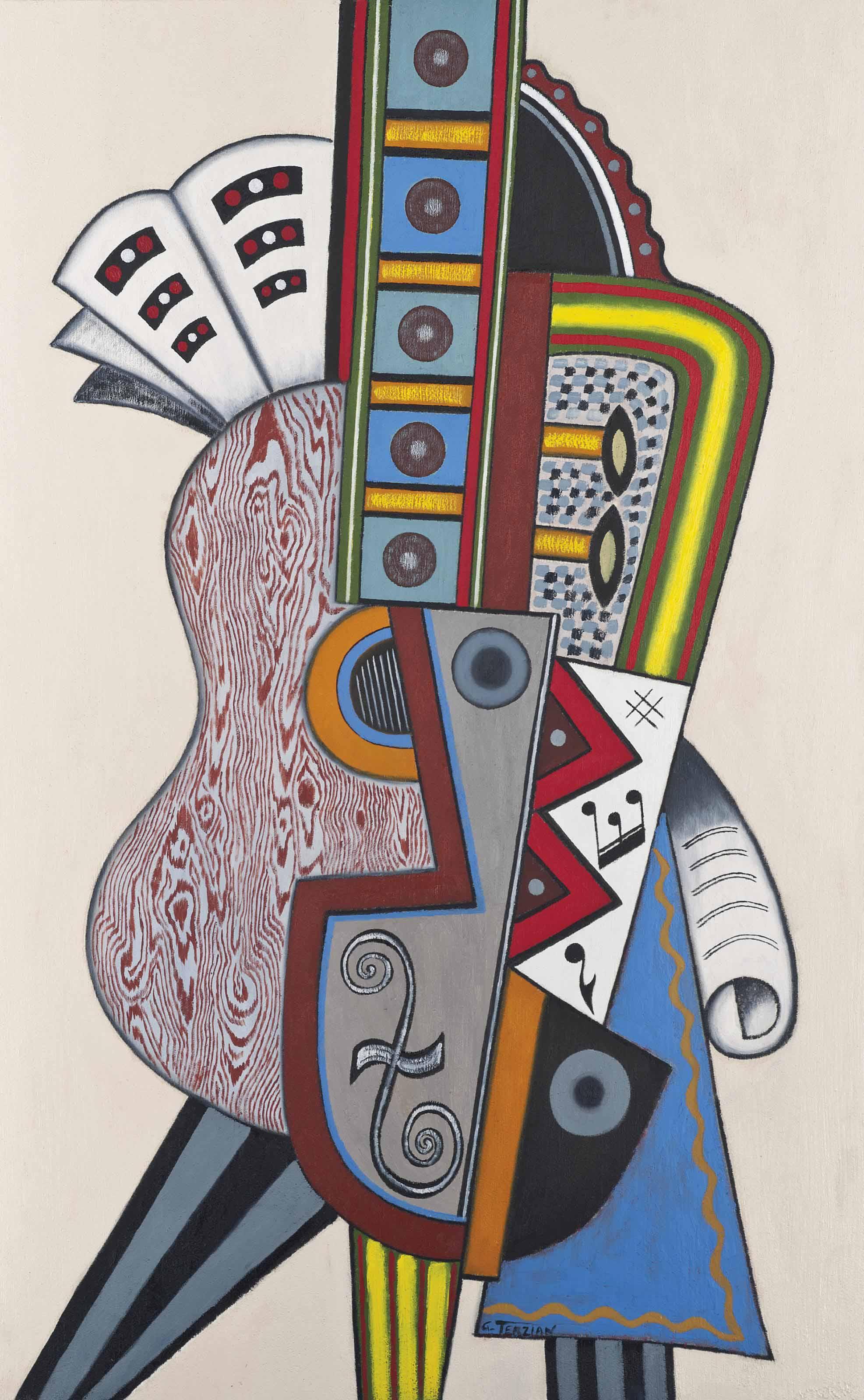 Georges Terzian (b. 1939) , Femme à la guitare | Christie's