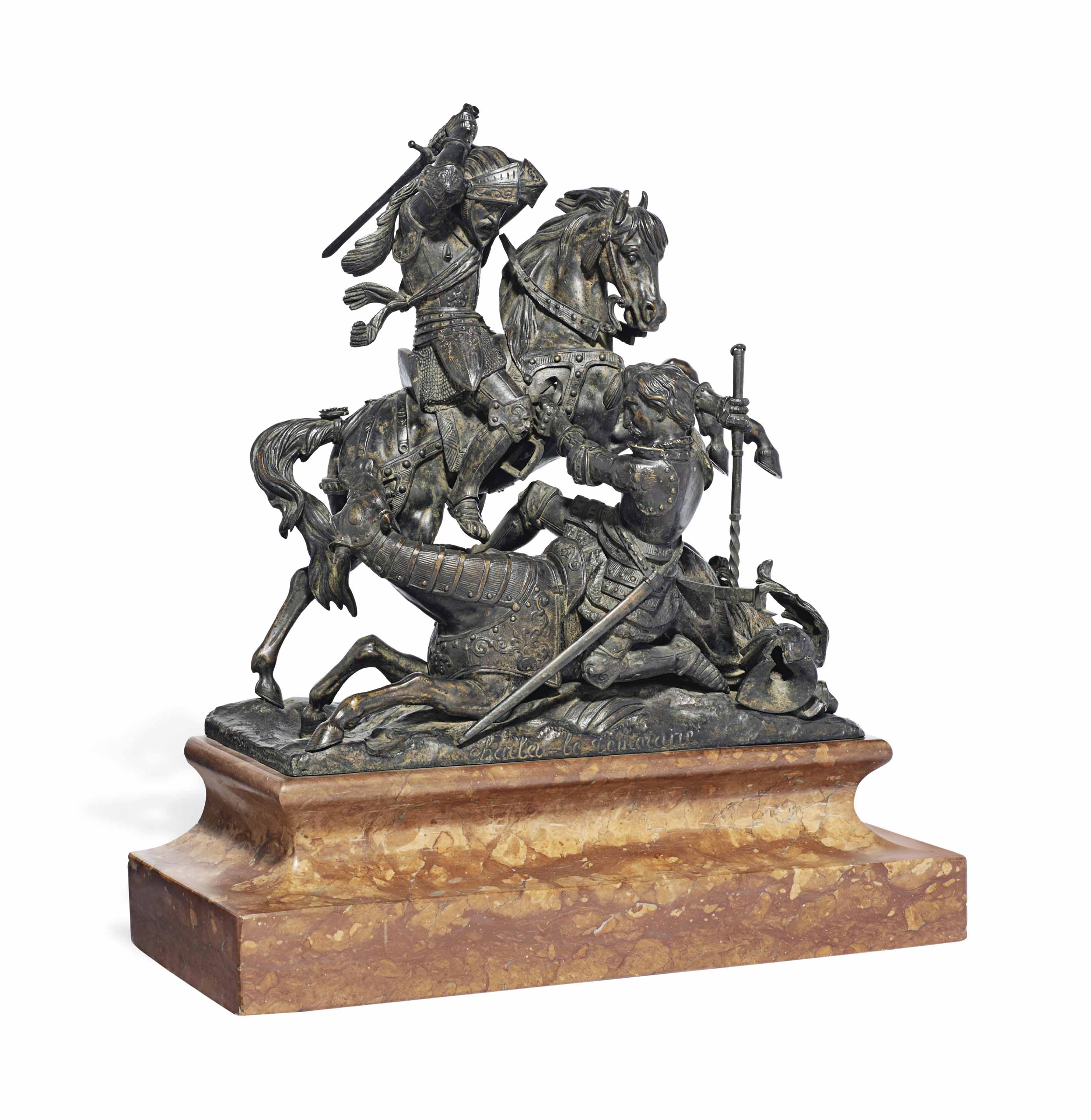 A Bronze Equestrian Group Of Charles The Bold Engaged In