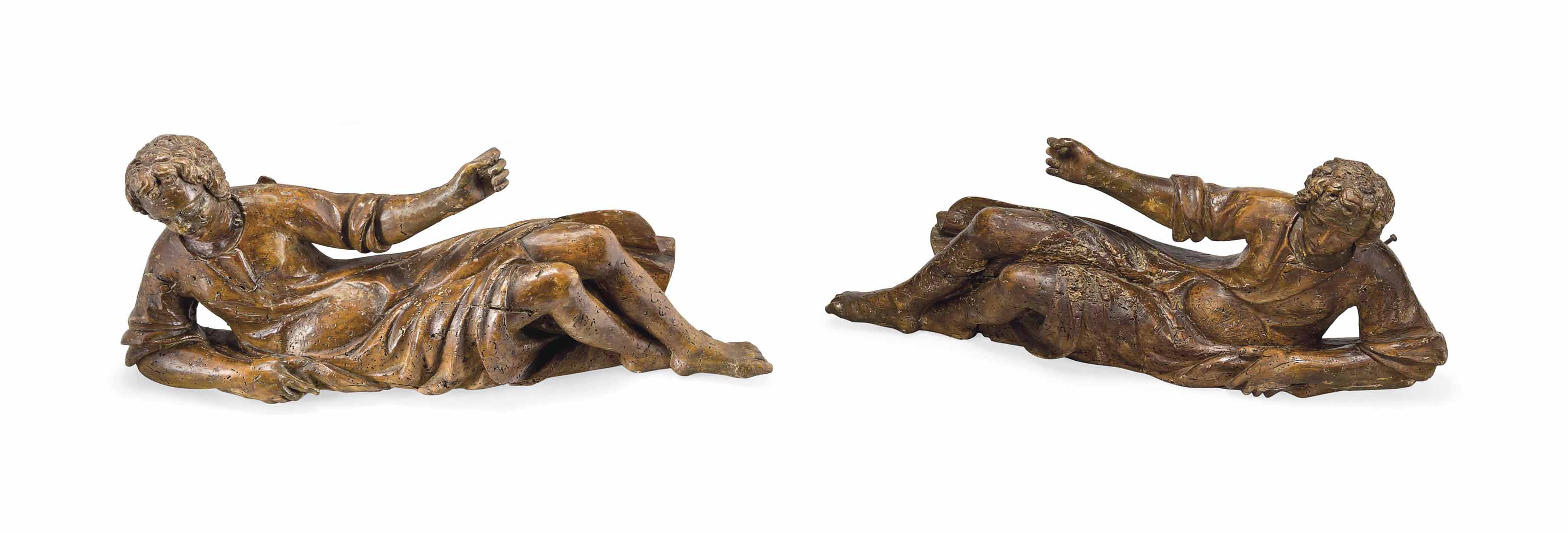A PAIR OF NORTH ITALIAN CARVED