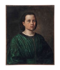 Portrait of a young woman, half-length, in a green dress and a gold necklace