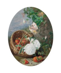 Strawberries in a basket, with honeysuckle and roses, on a bank