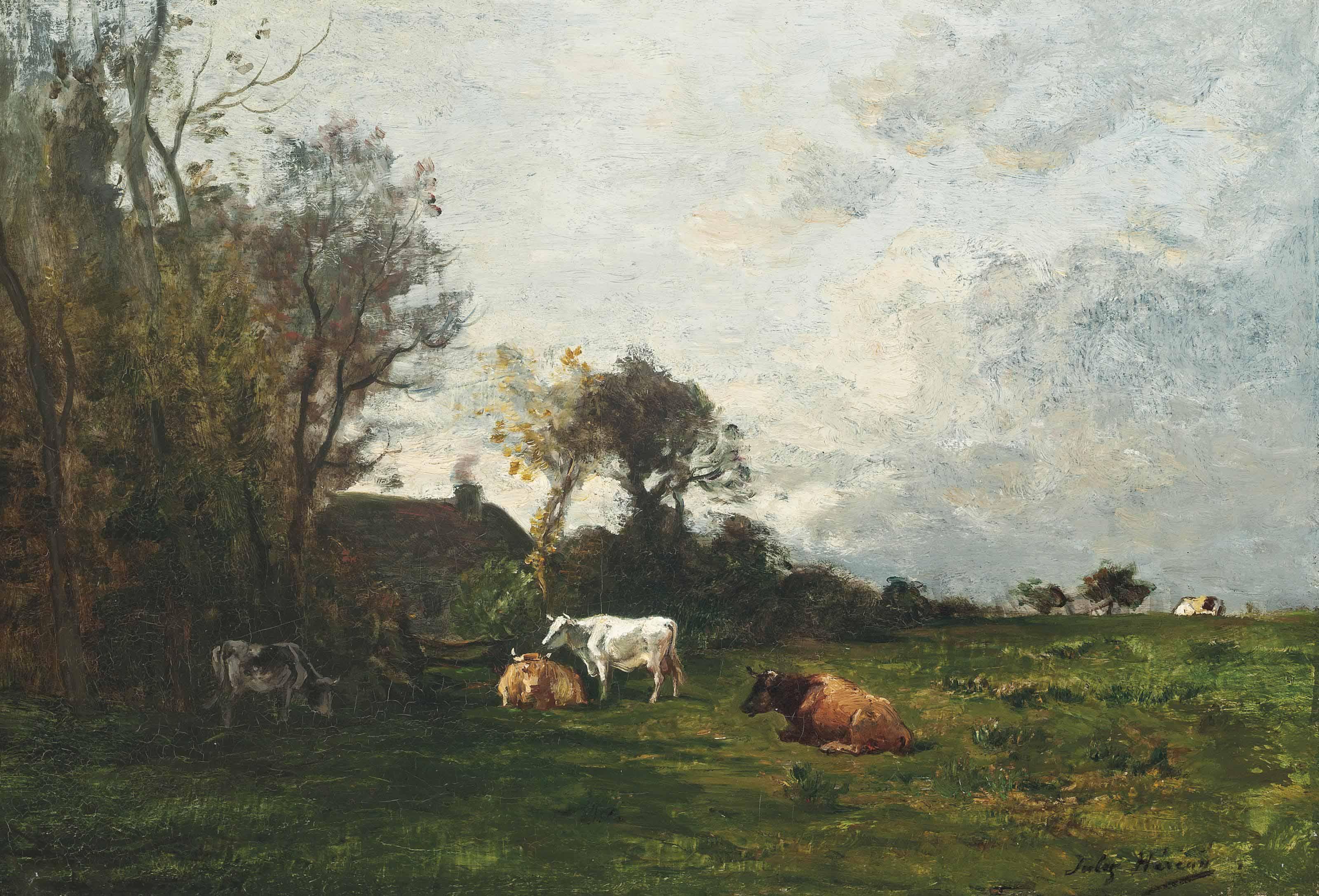 Paysage avec les vaches