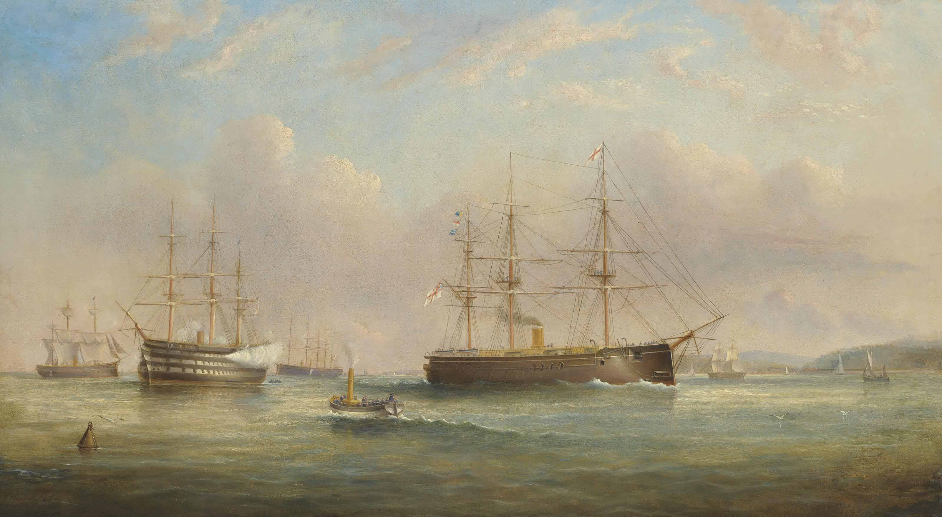 Royal Navy ships of the Duke of Wellington class lying at anchor at Spithead, with one firing a salute to acknowledge the departure of an Admiral on board the ironclad, thought to be H.M.S. Sultan