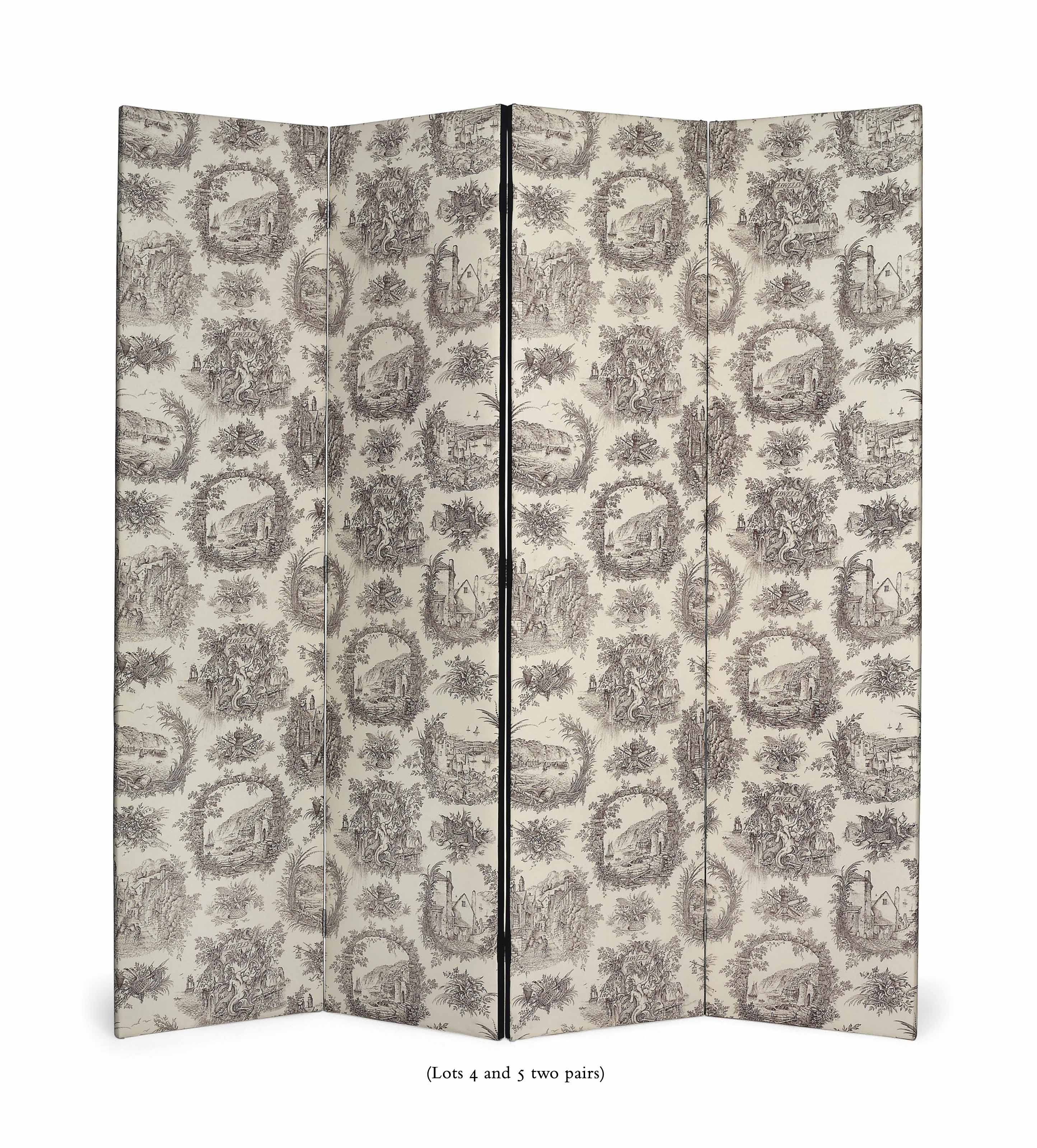 A PAIR OF FOUR-FOLD TOILE-DE-JOUY PRINTED-COTTON SCREENS OF LARGE SIZE