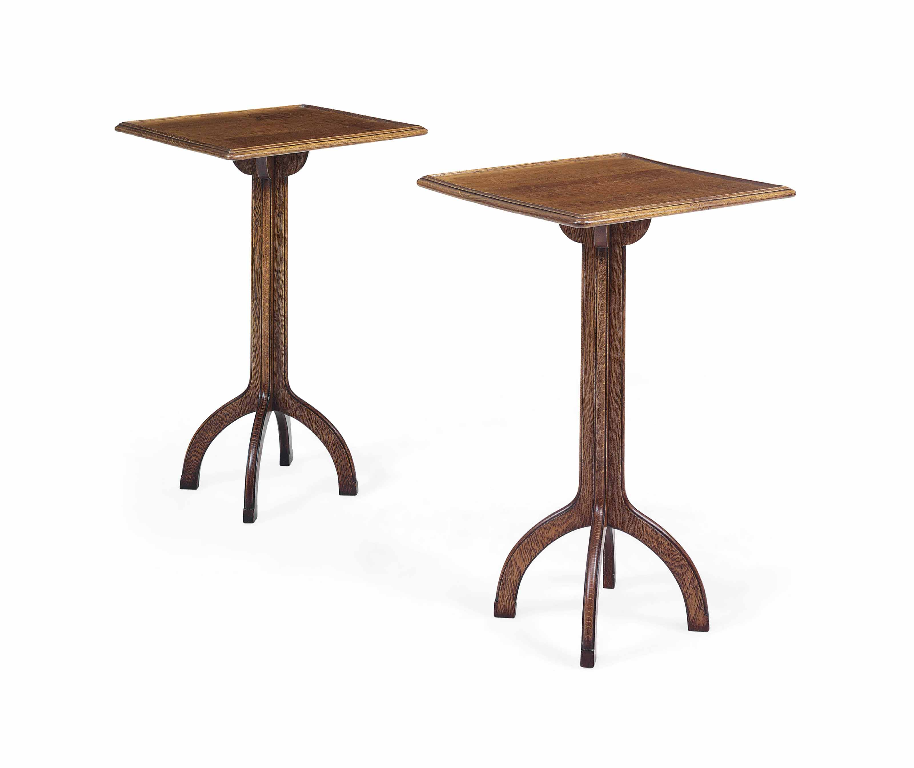 A PAIR OF ENGLISH OAK LAMP TABLES