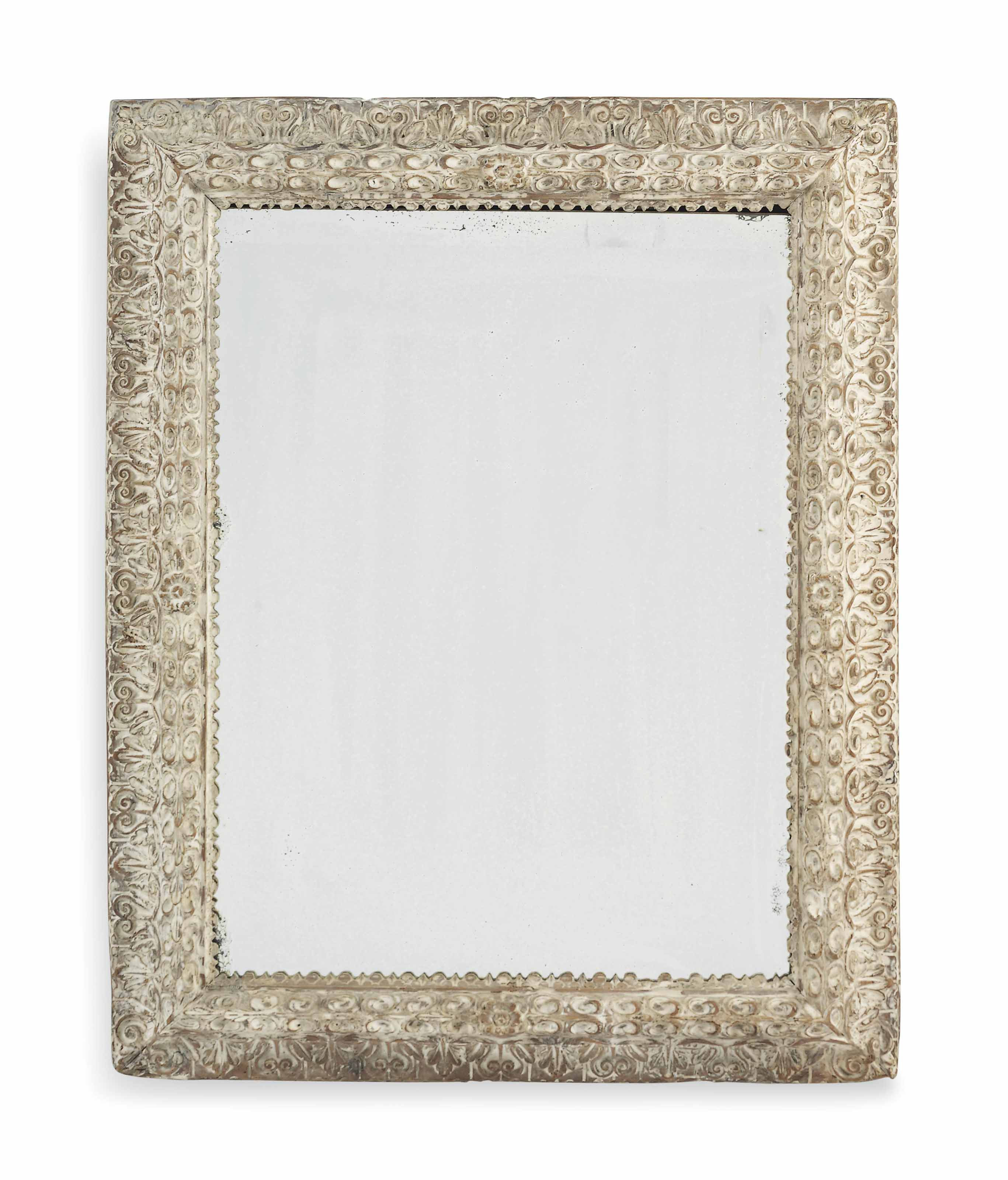 AN ITALIAN LIMED PICTURE FRAME MIRROR