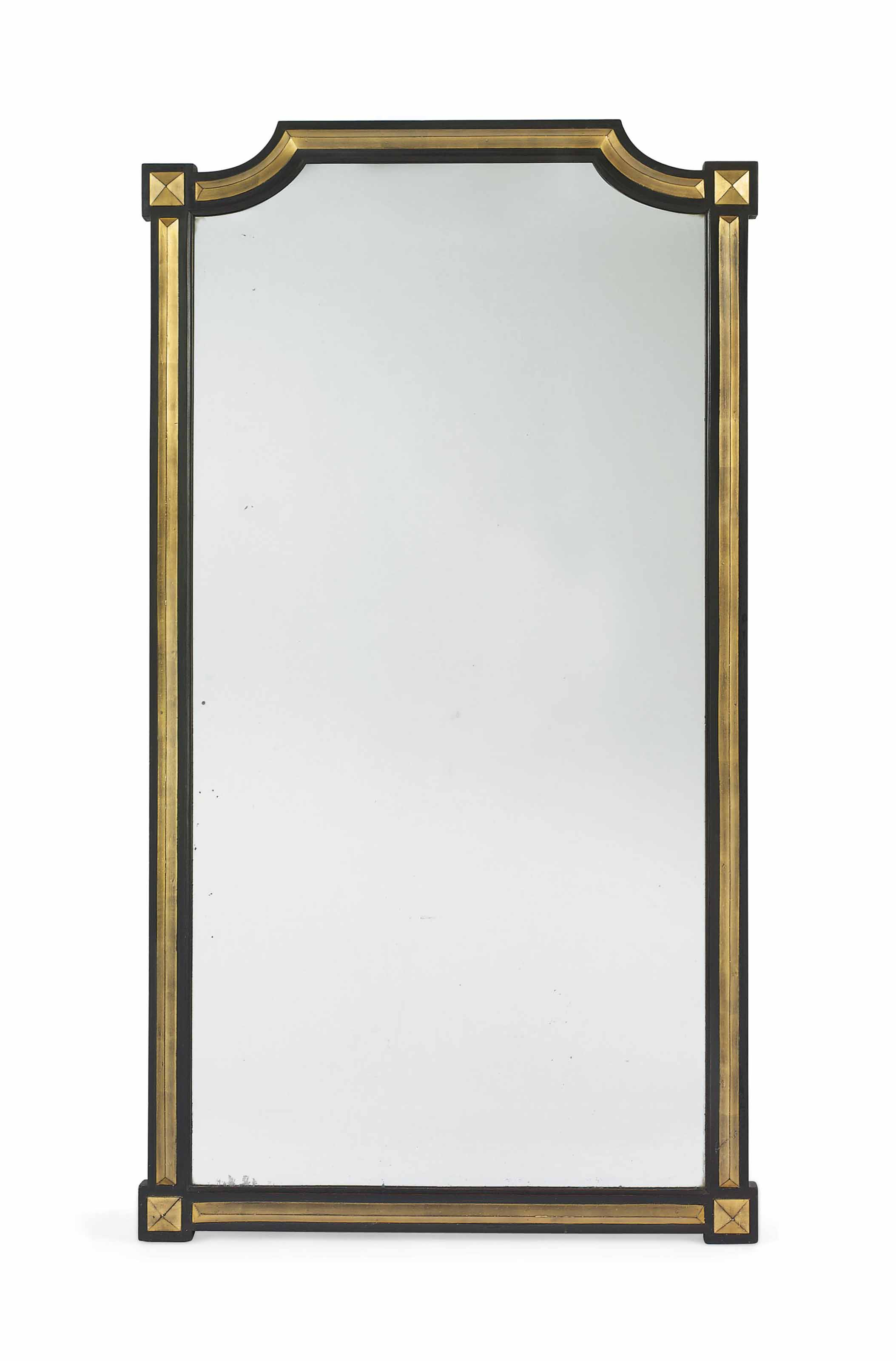 AN ENGLISH PARCEL-GILT AND EBONISED PIER MIRROR