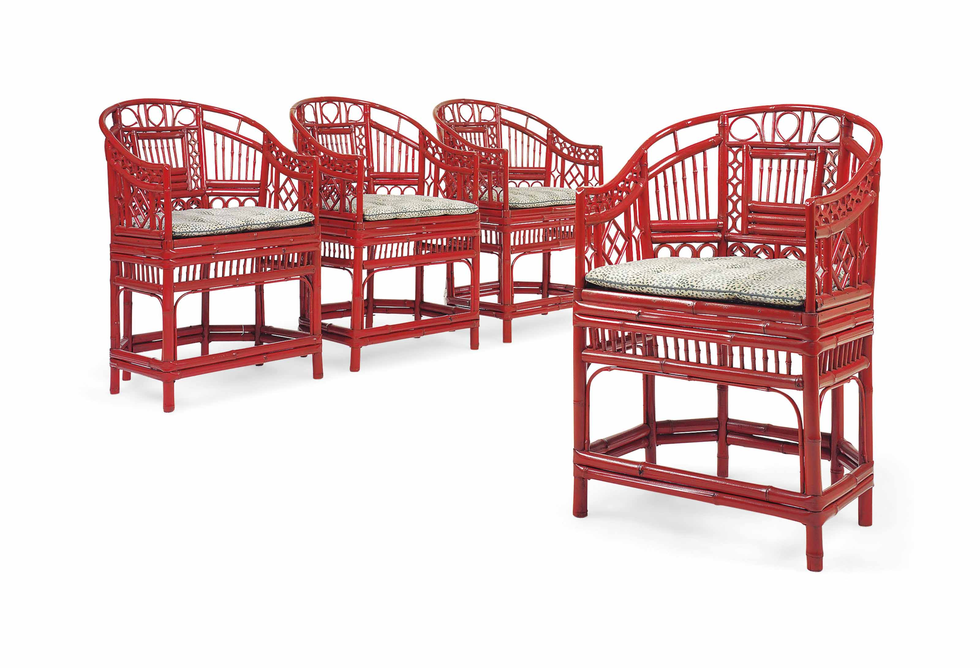 A SET OF FOUR RED-PAINTED BAMBOO ARMCHAIRS