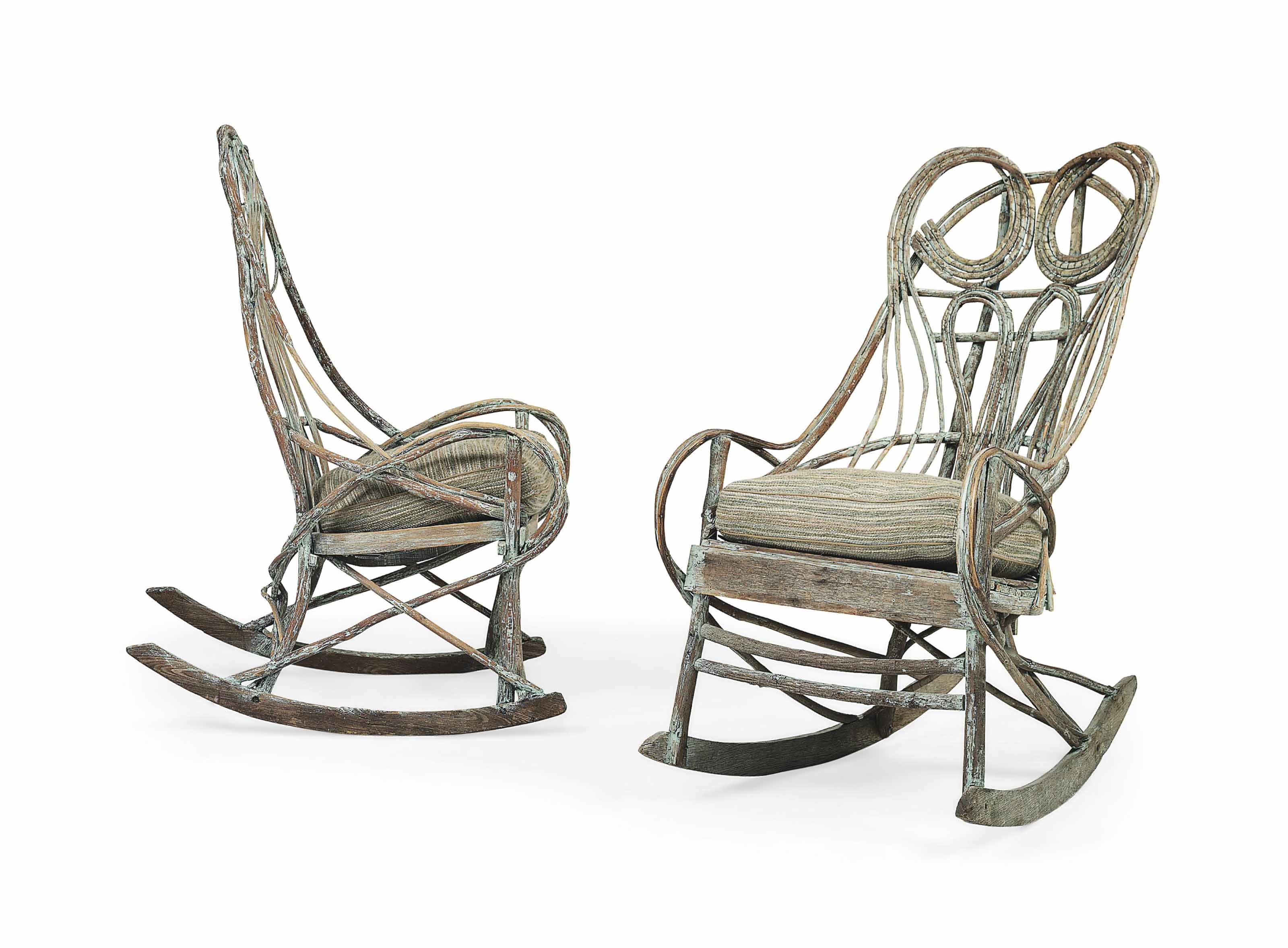 AN AMERICAN GREEN-PAINTED BENTWOOD ROCKING CHAIR