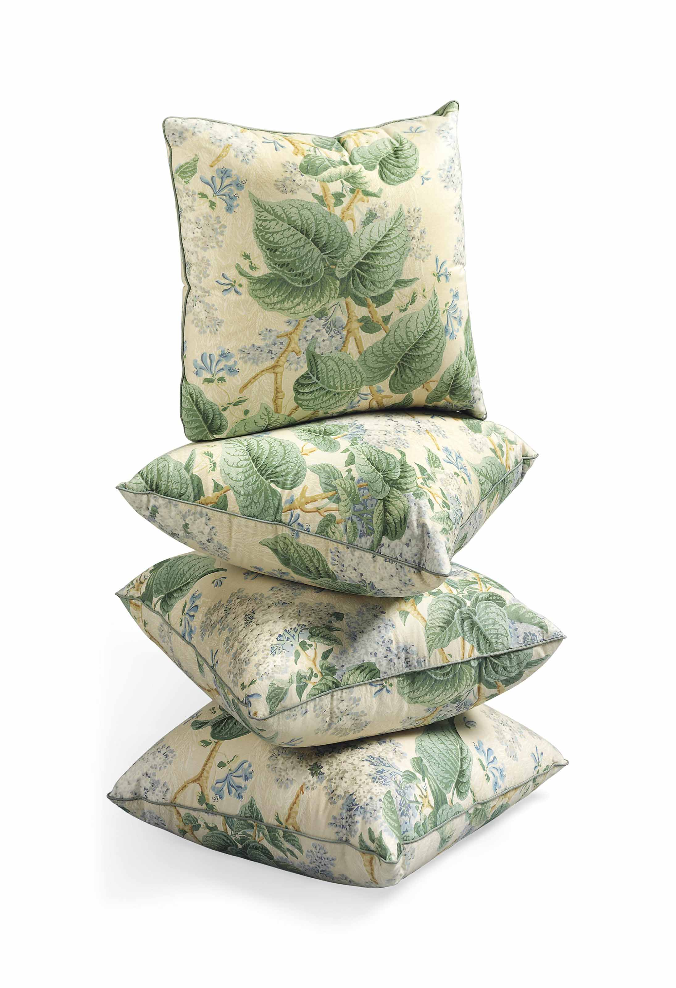 A SET OF FOUR 'LILAC CHINTZ' CUSHIONS , BY COLEFAX AND ...