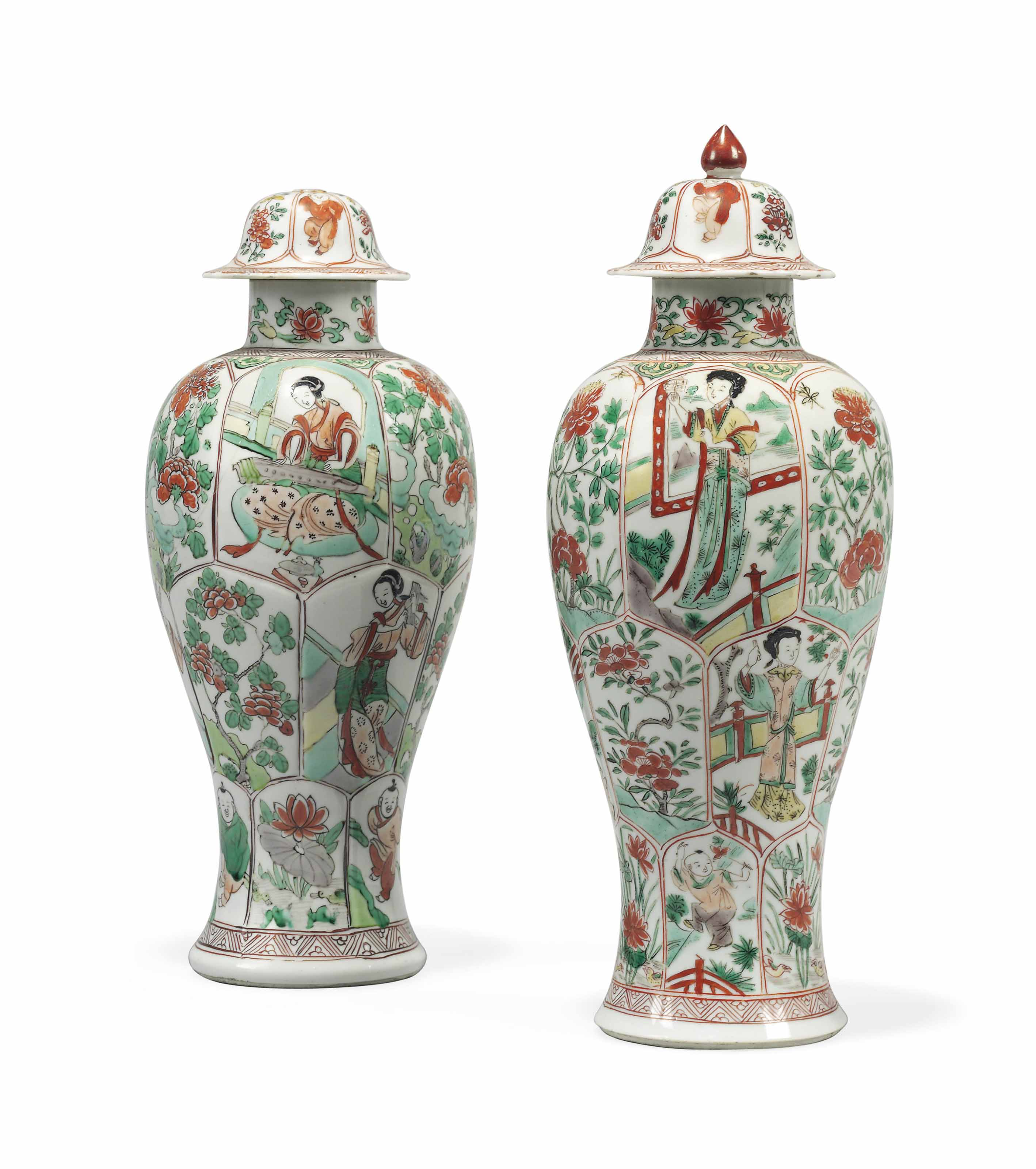 A PAIR OF CHINESE FAMILLE VERTE MOULDED BALUSTER VASES AND COVERS