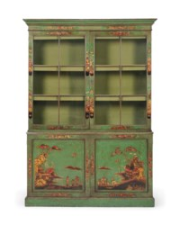 A GEORGE III GREEN-JAPANNED BOOKCASE