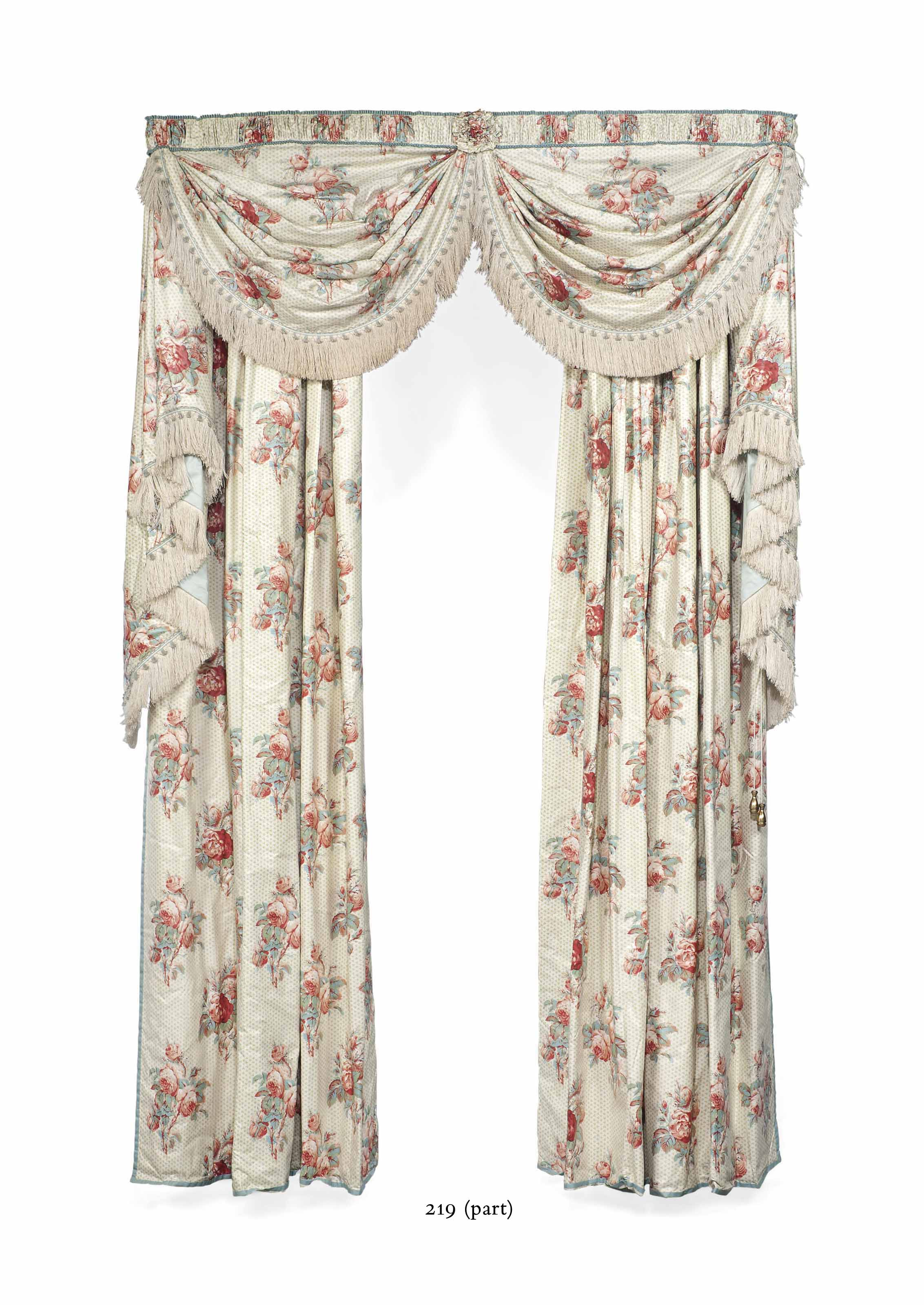 TWO PAIRS OF ROSE-PINK AND PALE-BLUE CHINTZ CURTAINS FROM THE ANTE ROOM, HAMBLEDEN MANOR