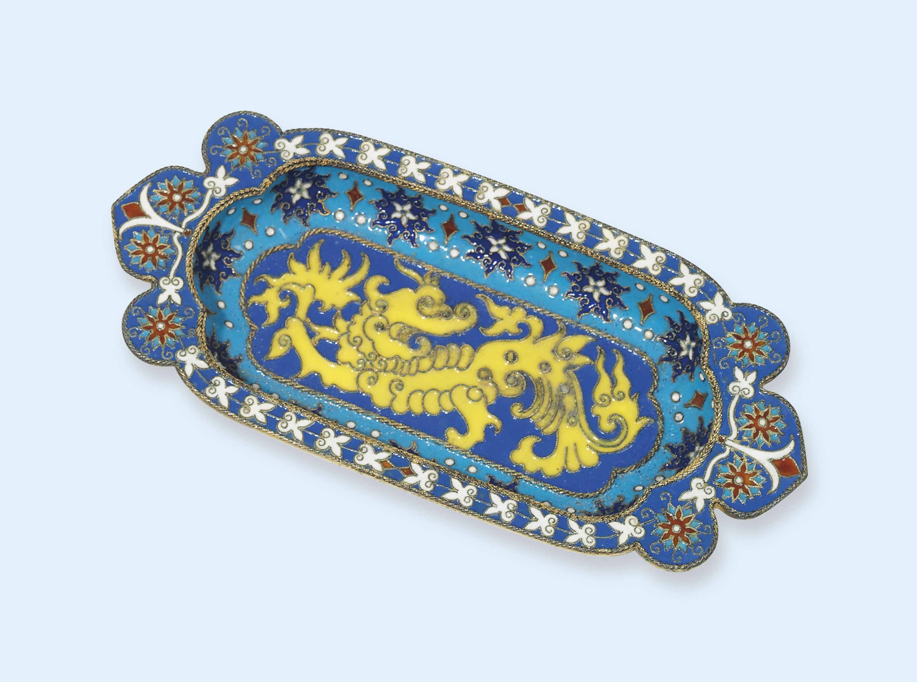 A RUSSIAN SILVER-GILT AND CLOISONNE ENAMEL PIN-TRAY