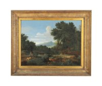 An extensive river landscape with classical figures at rest