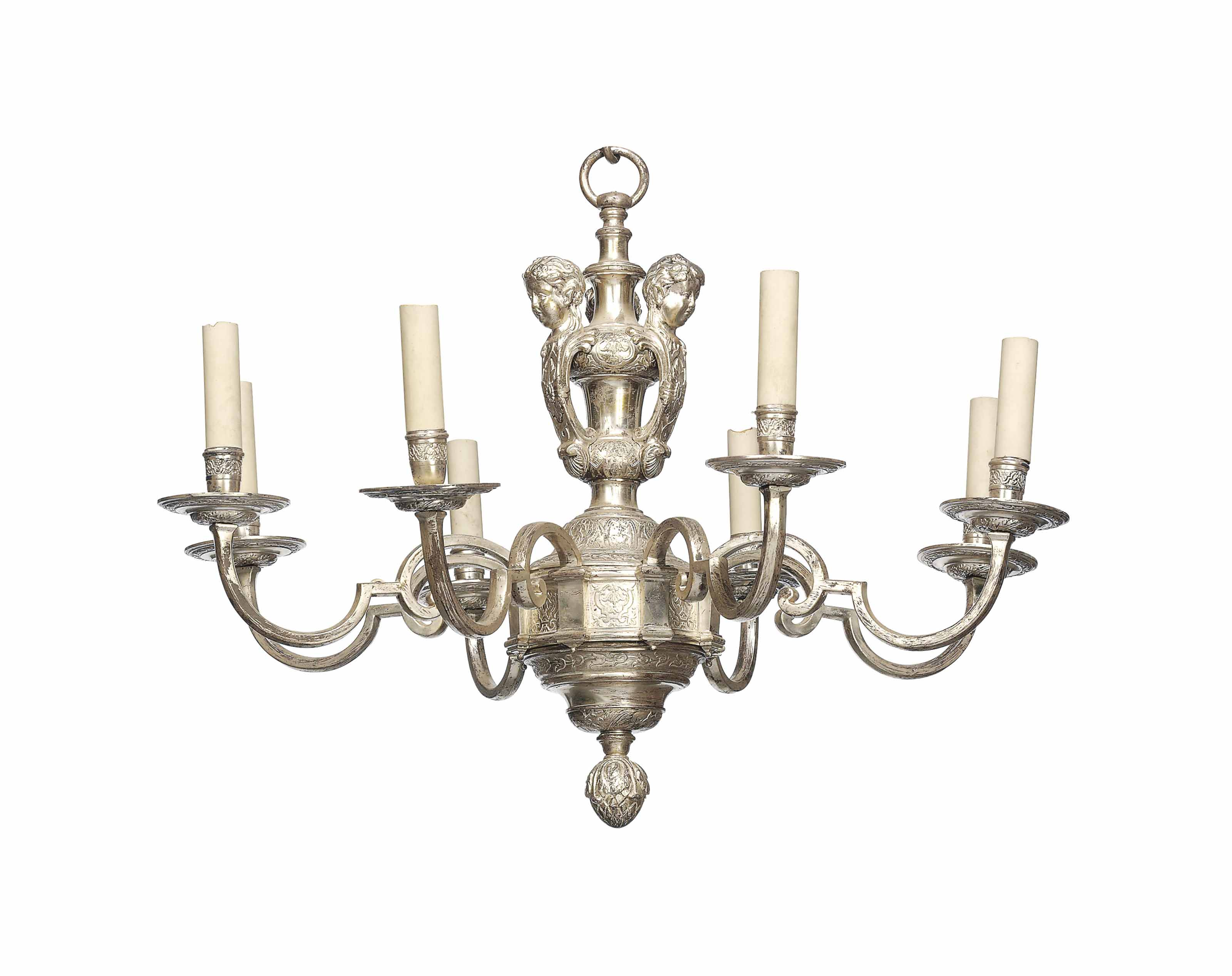 A CHARLES II SILVERED-BRONZE EIGHT-LIGHT CHANDELIER