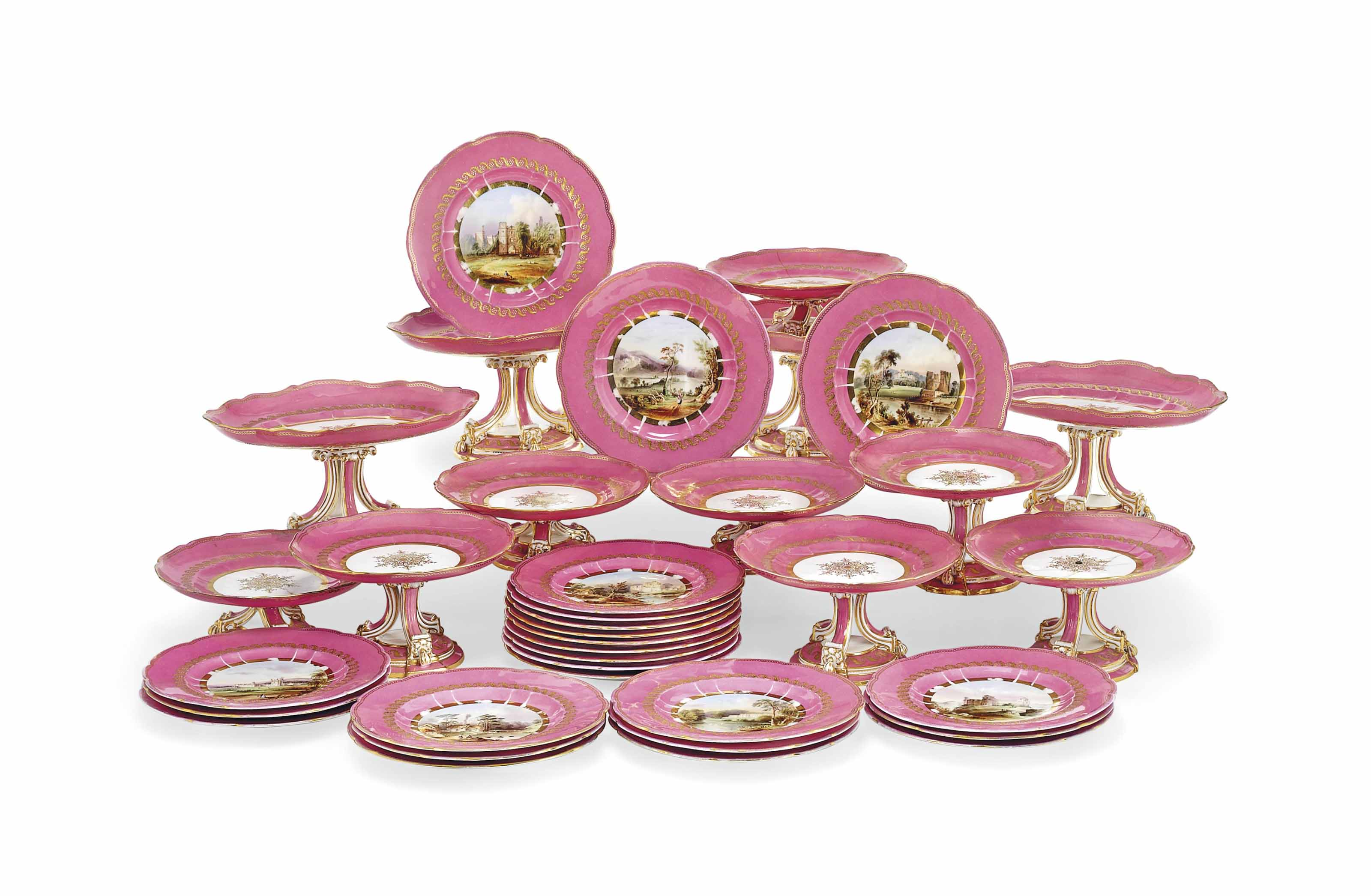 AN ENGLISH PORCELAIN PINK-GROUND TOPOGRAPHICAL PART DESSERT-SERVICE