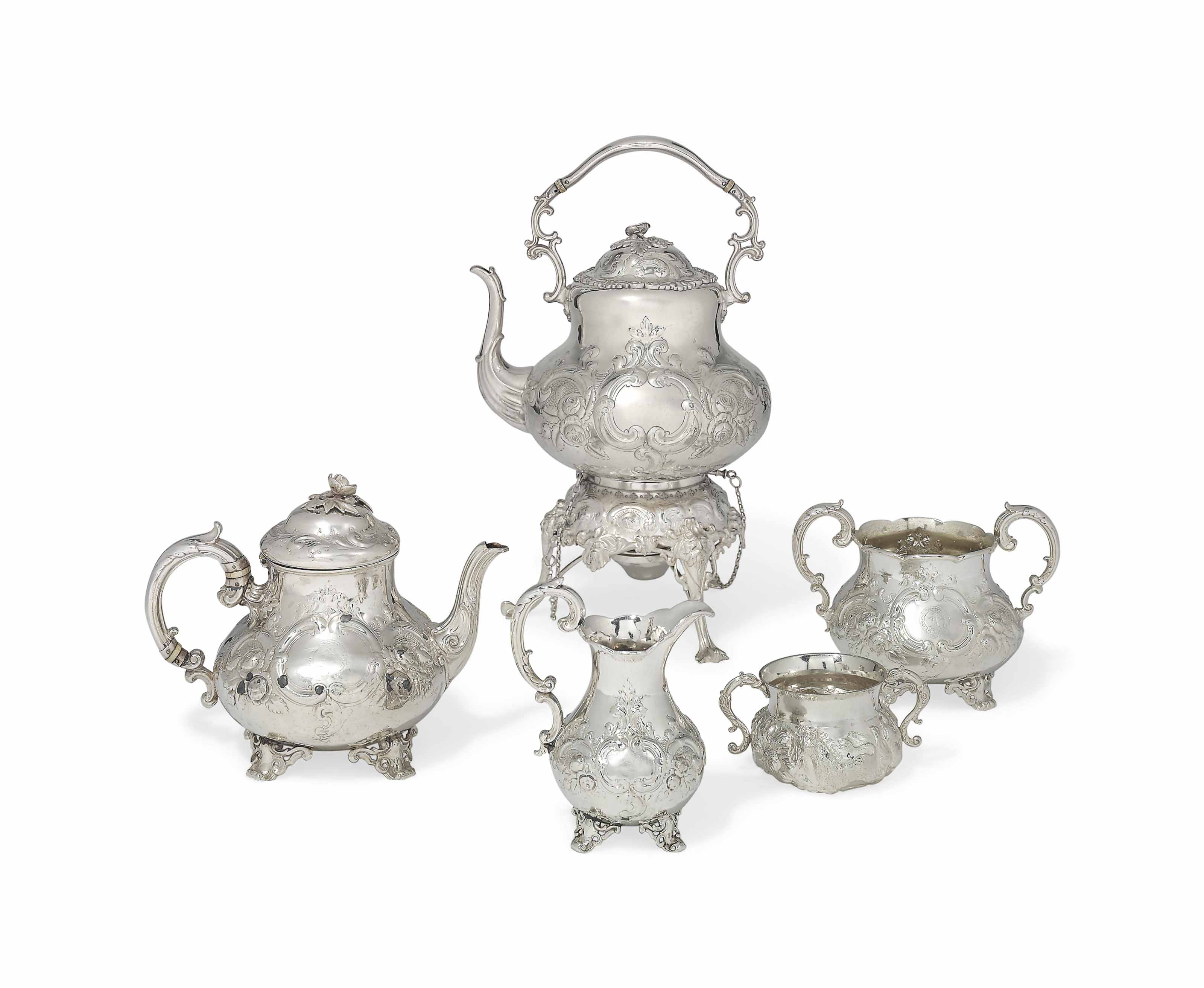 A VICTORIAN THREE-PIECE SILVER TEA-SET WITH AN ELECTROPLATED KETTLE AND STAND EN SUITE