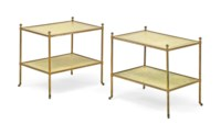 A PAIR OF ENGLISH GREEN 'CRAQUELURE' JAPANNED AND GILT-BRASS RECTANGULAR TWO-TIER ETAGERES