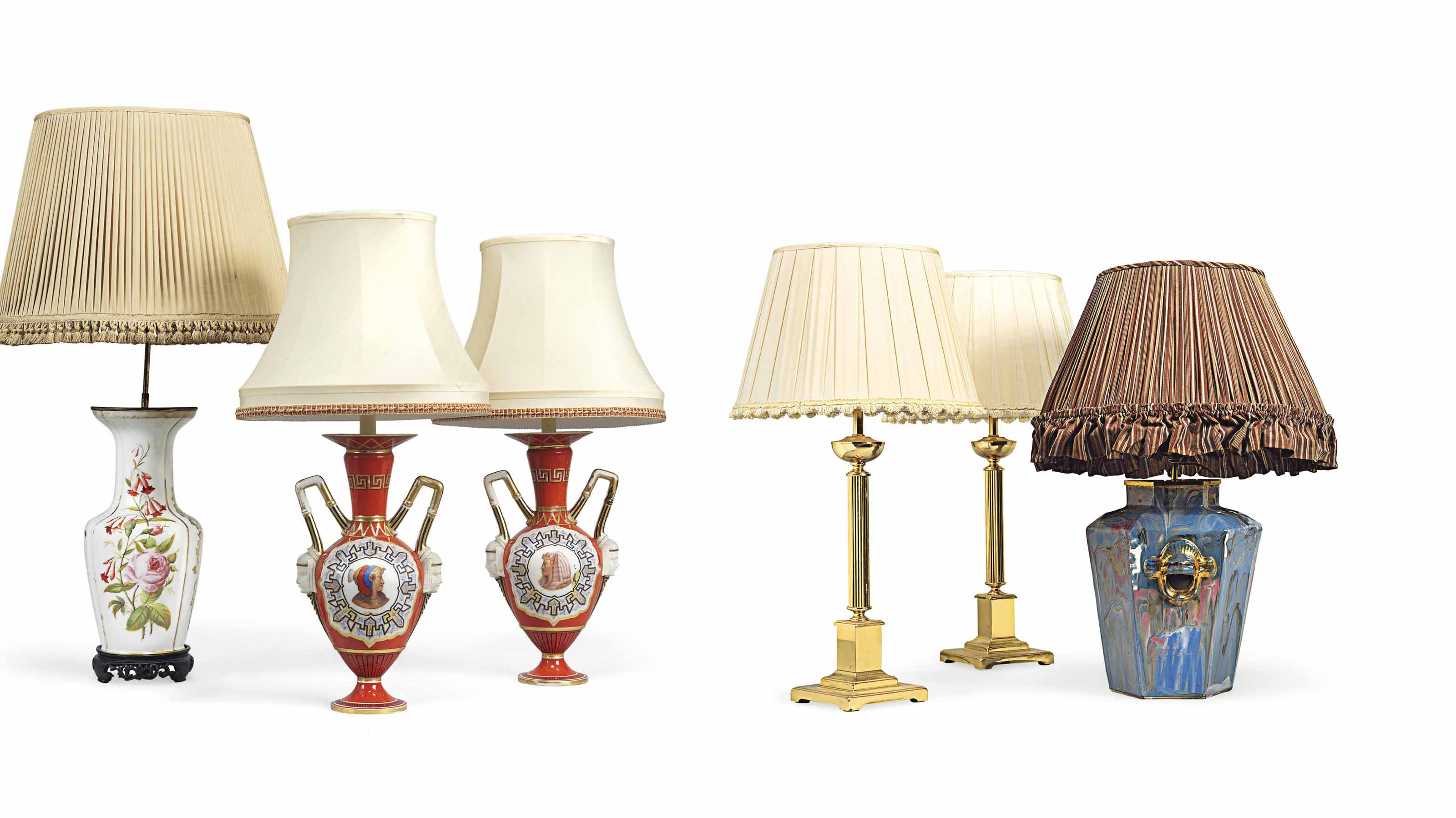 A PAIR OF BRASS LAMPS